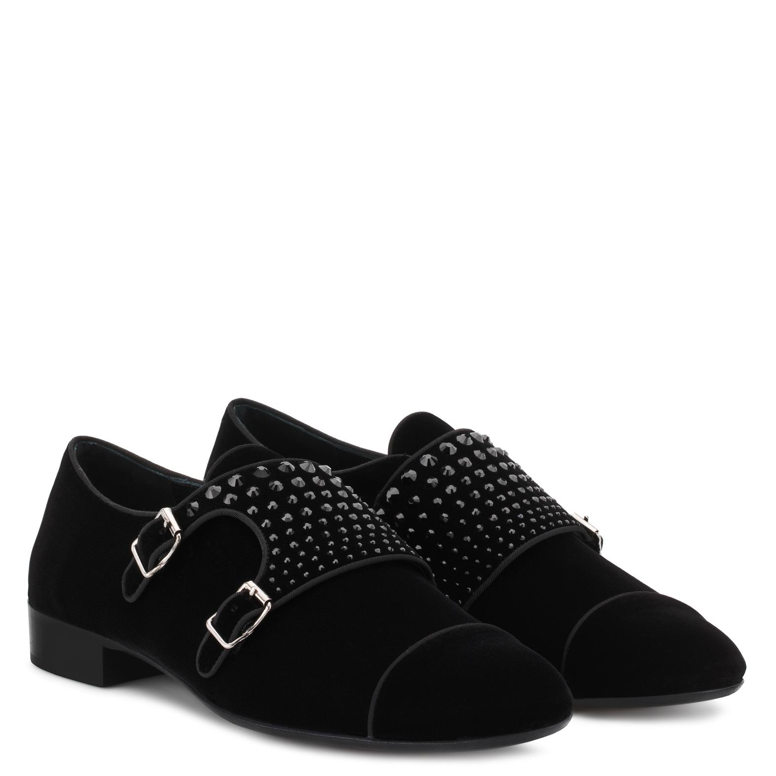 Giuseppe Zanotti Velvet shoes with double buckles and crystals JOHNNY CRYSTAL tXQSm3VRm