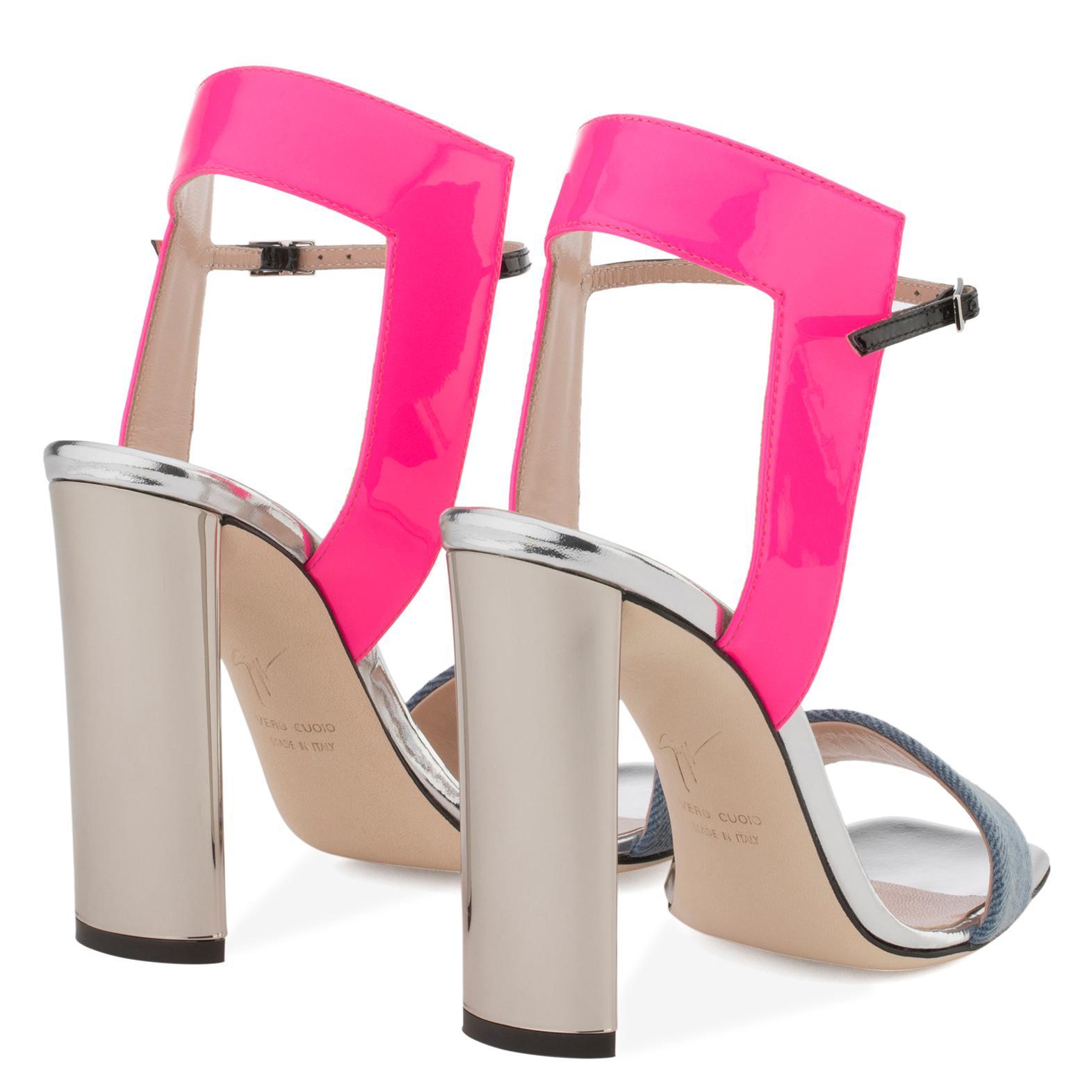 Giuseppe Zanotti Blue denim and fuxia leather sandal BRIELLE WtQwWjC1l