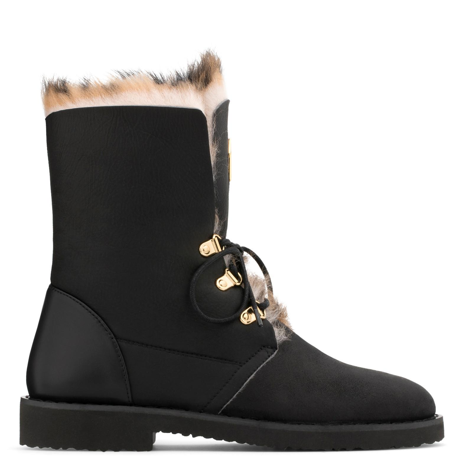 Giuseppe Zanotti Black calfskin leather boot with shearling fur inside PHILLIS