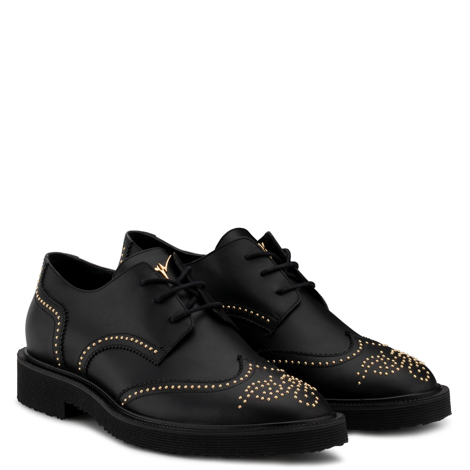 Giuseppe Zanotti Calf leather shoes with gold studs embroidery ANDIE jE4yeK