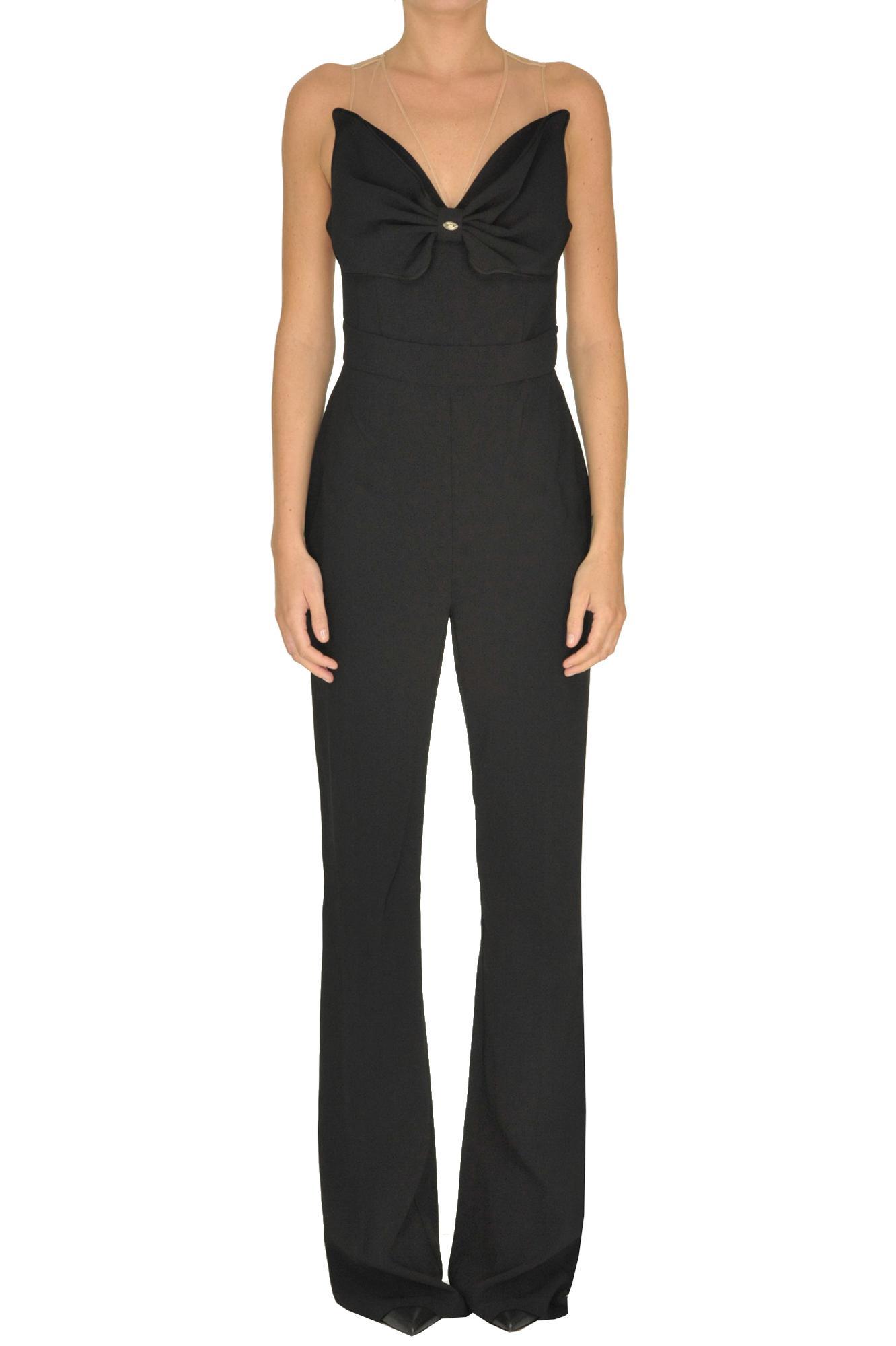 3b45833e7c16 Lyst - Elisabetta Franchi Maxi Bow Jumpsuit in Black