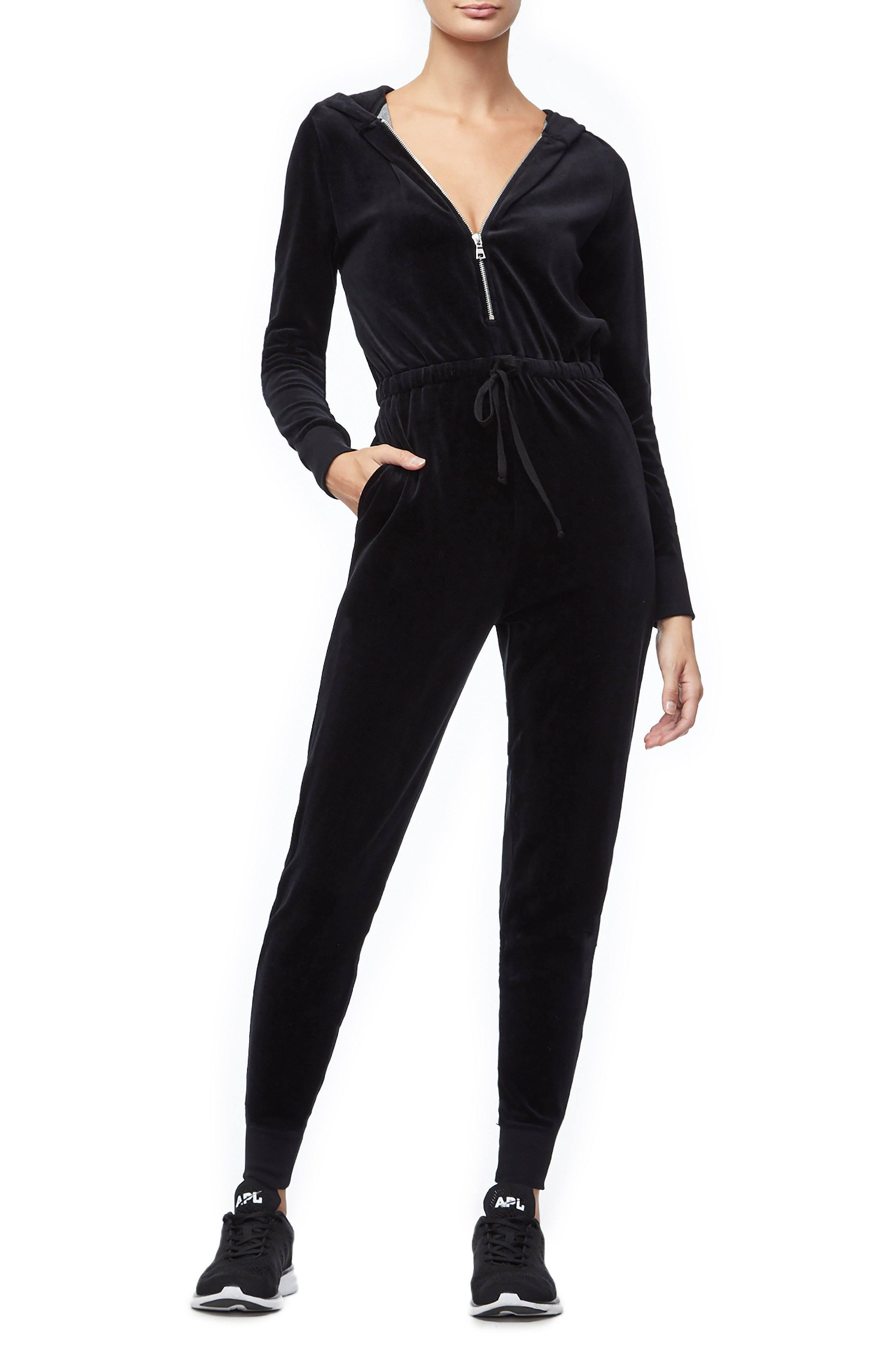 085f4e81e06c Lyst - GOOD AMERICAN The Velour Hooded Jumpsuit in Black