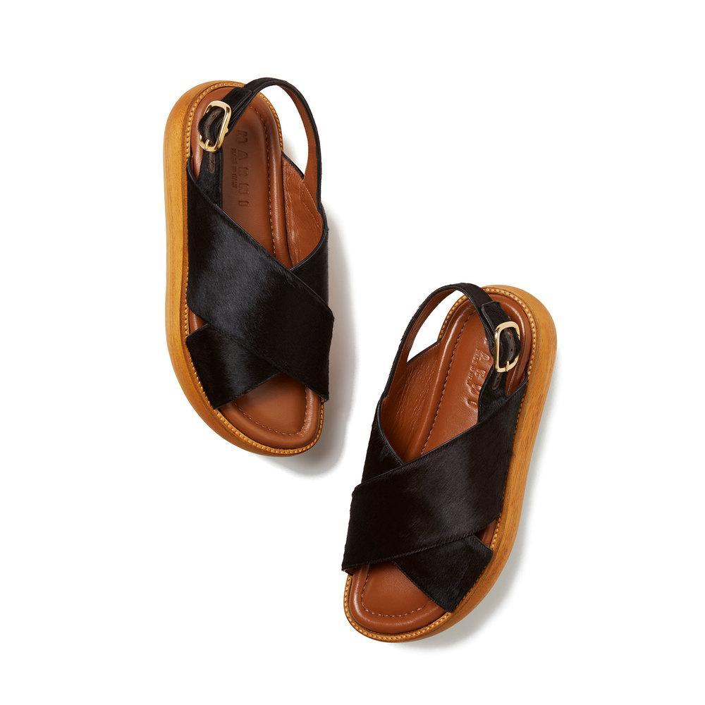 9e72b2d4b9f Lyst - Marni Stacked Calf-hair Flatform Sandals in Black