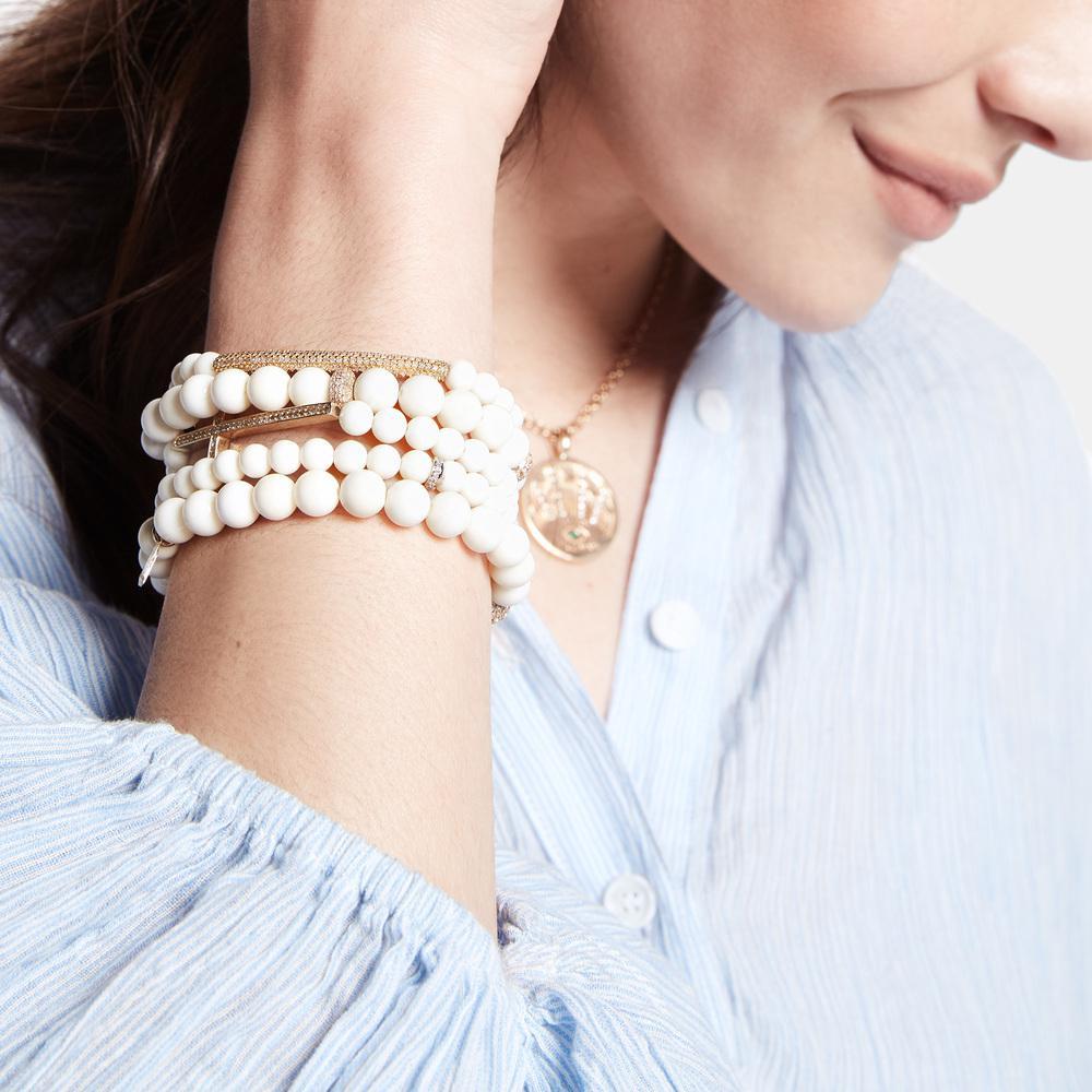 99f9c10feff Lyst - Sheryl Lowe Bone Bracelet With Gold Bezel Bead in Metallic