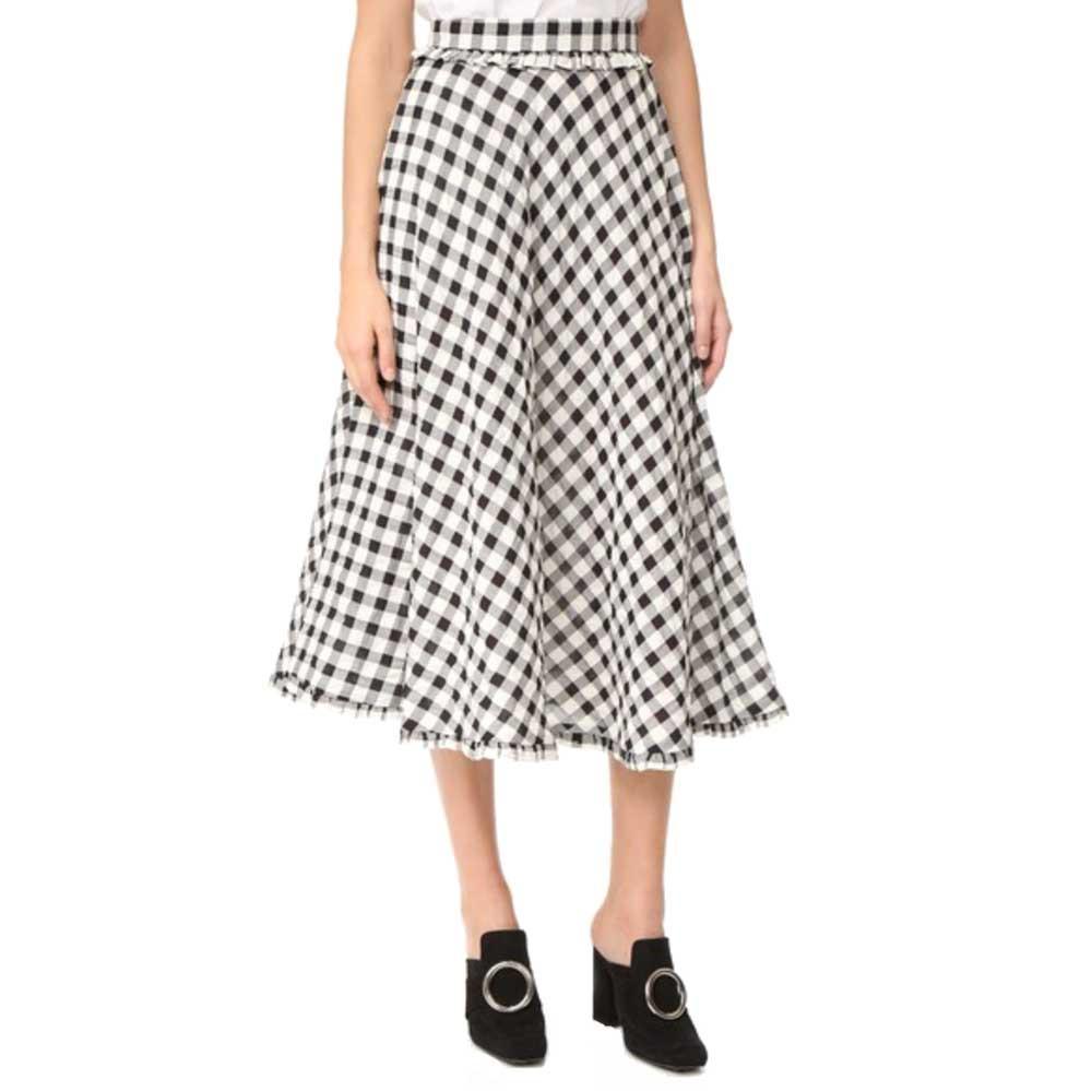 rossella jardini black and white checkered maxi skirt in