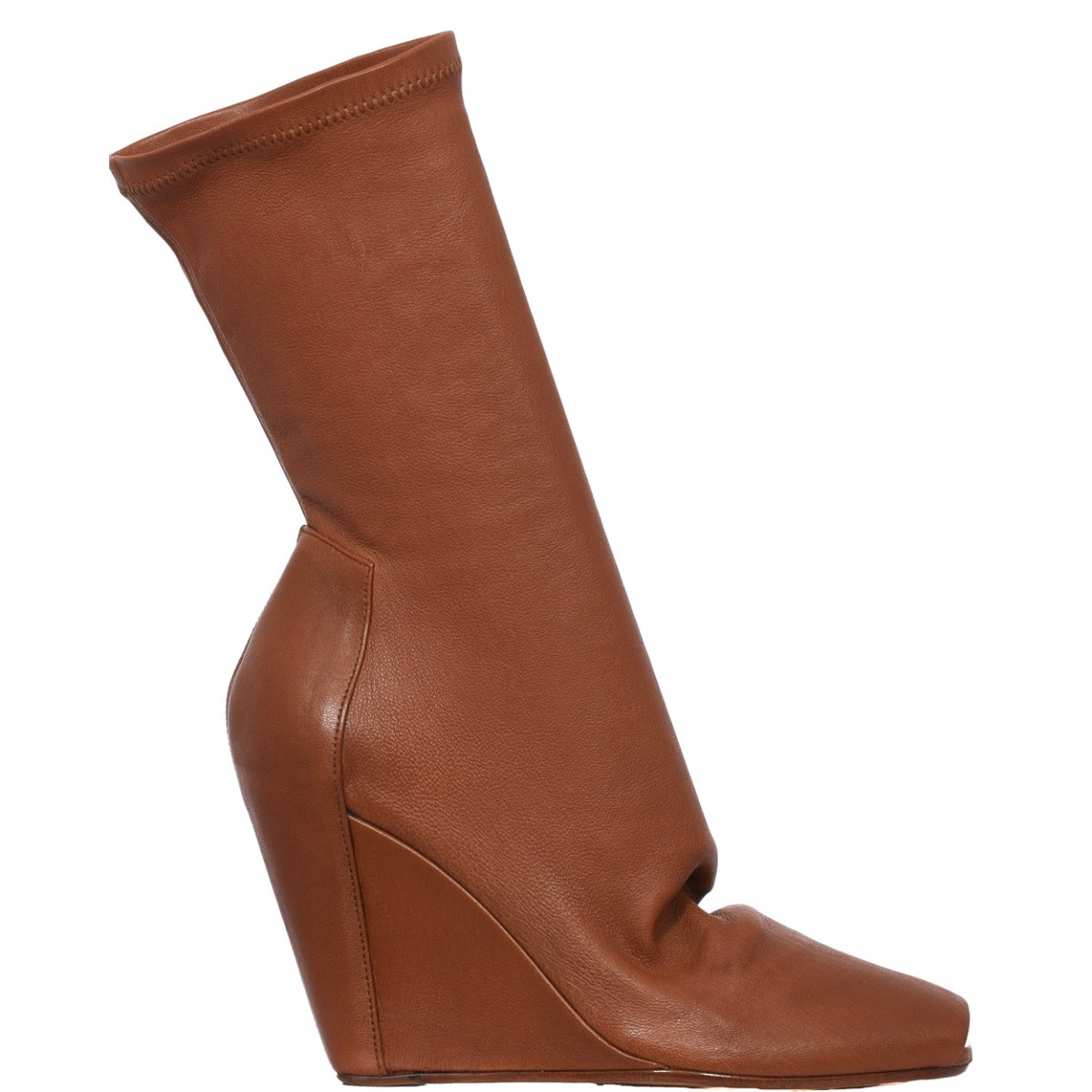 rick owens open toe wedge leather boots in brown lyst