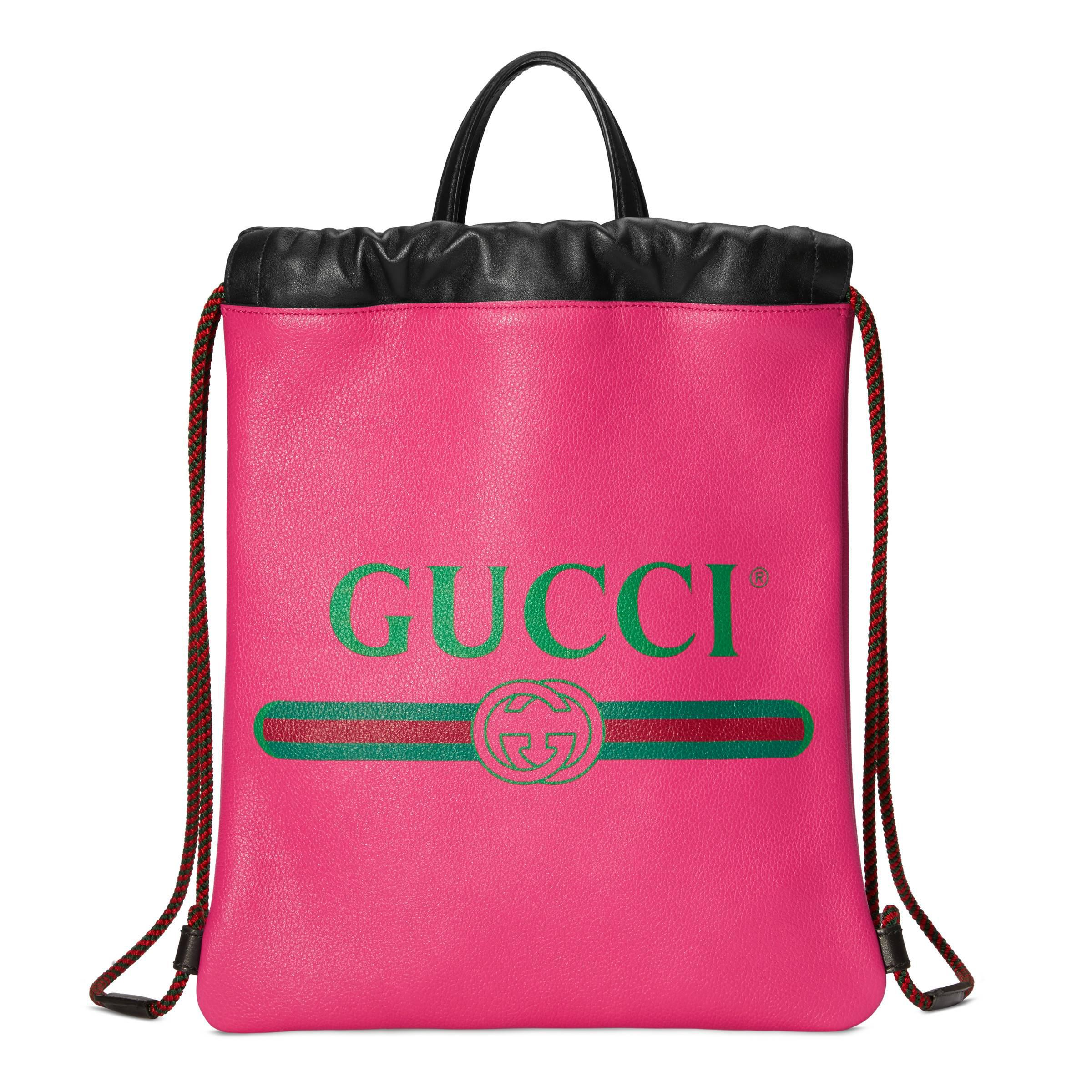 5f5e5673a59 Gucci - Black Print Small Drawstring Backpack - Lyst. View fullscreen
