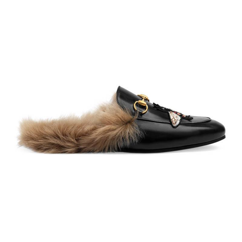 ae16169a8 Gucci Princetown Slipper With Bee in Black - Lyst