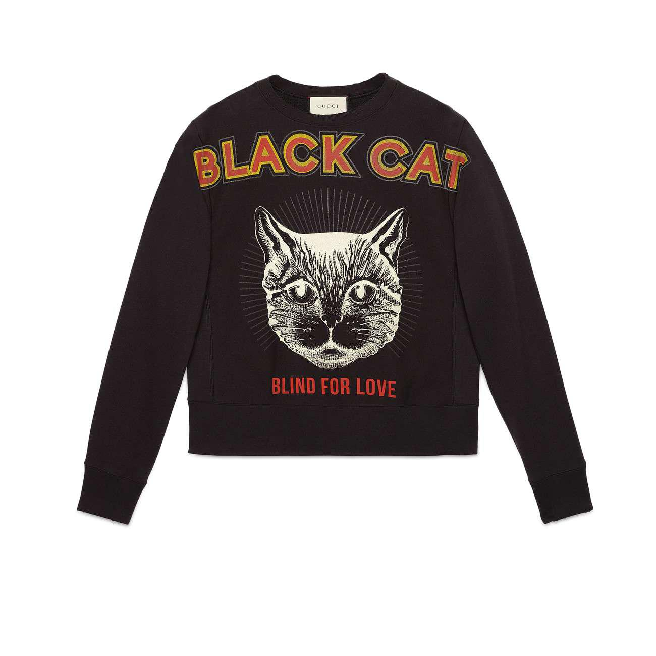 9cbdffee7 Gucci Cotton Sweatshirt With Black Cat Print in Black for Men - Lyst