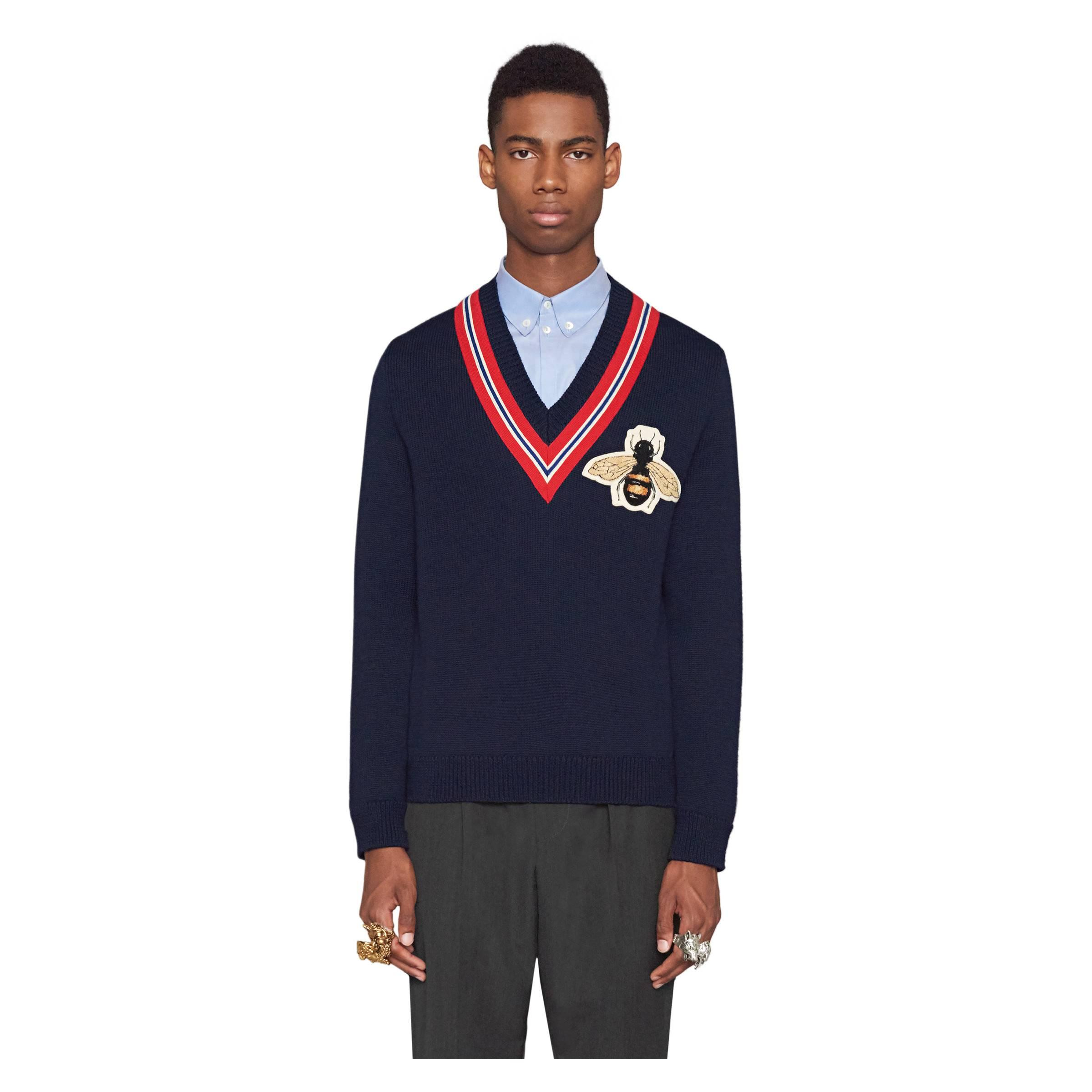 798ee0aef8fd8f Gucci - Blue Navy Bee Sweater for Men - Lyst. View fullscreen