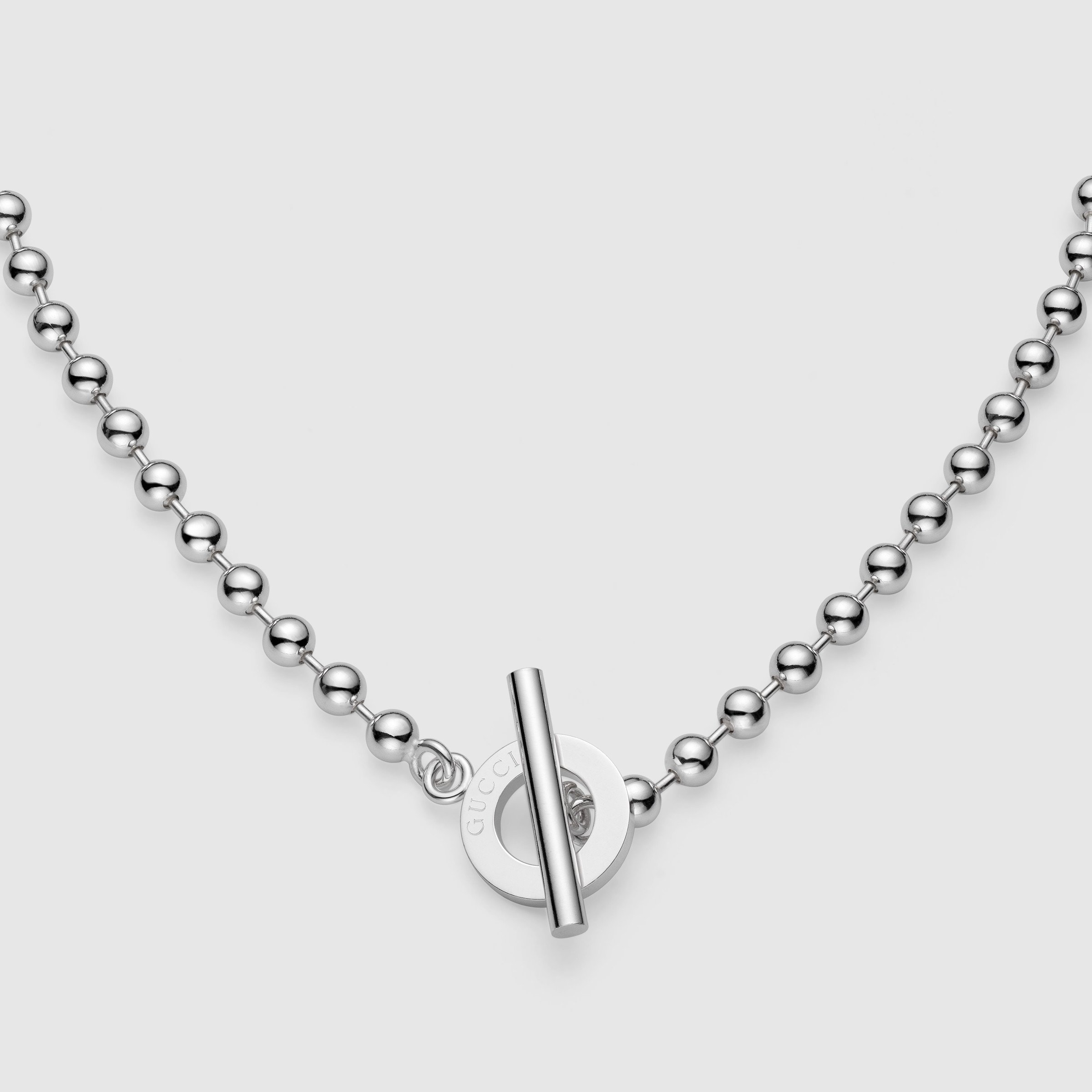 29bf24277 Gucci Unisex Sterling Silver Boule Chain Toggle Necklace ...