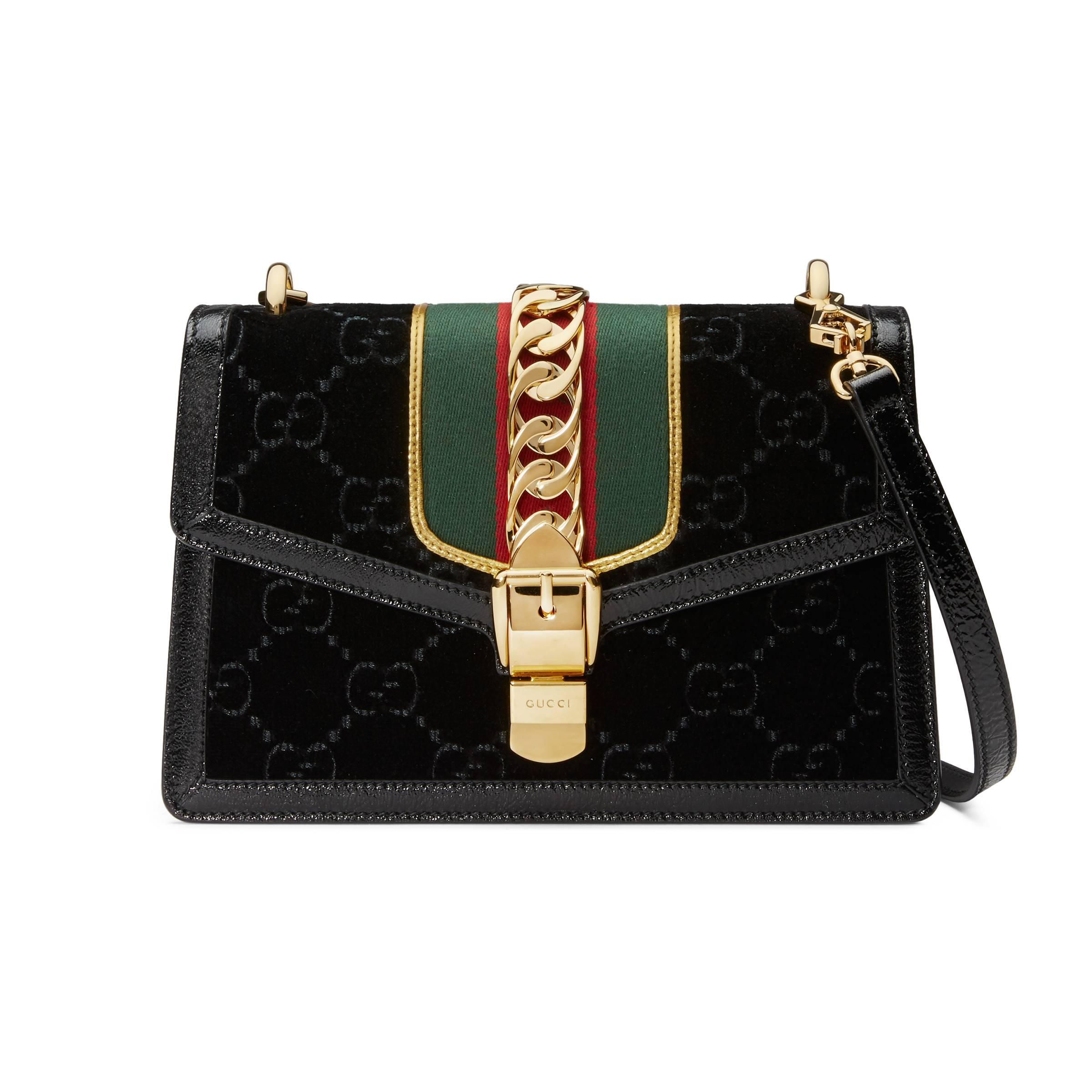 98e8d0a49 Gucci - Black Sylvie GG Velvet Small Shoulder Bag - Lyst. View fullscreen