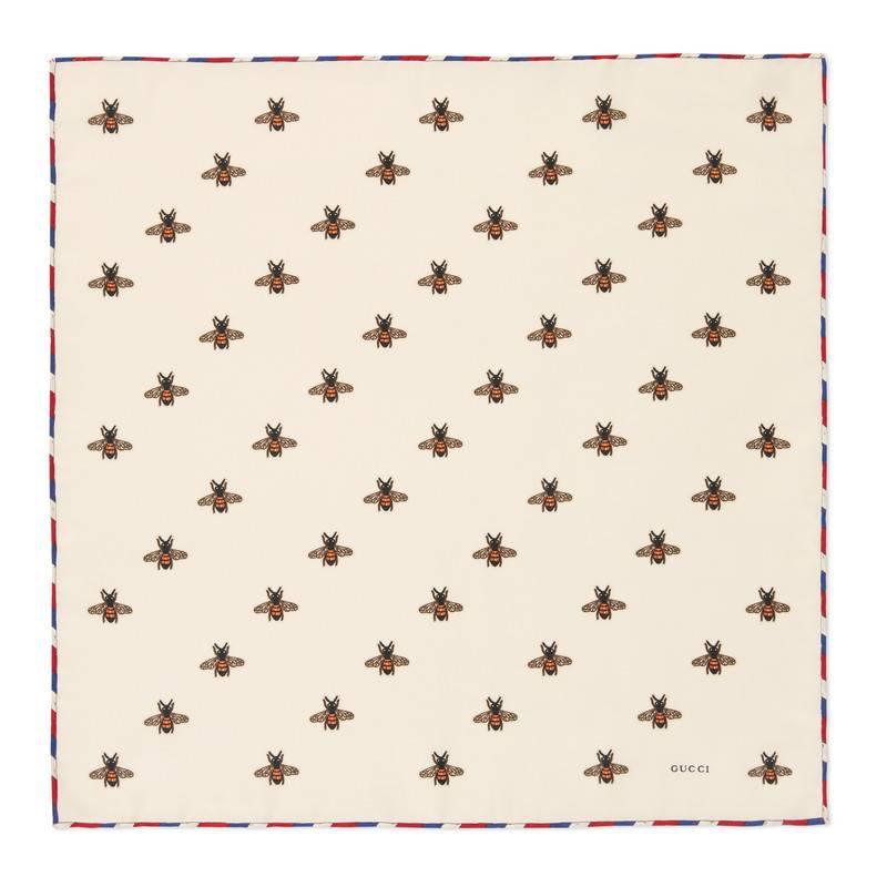Lyst - Carré de soie pour pochette à imprimé abeilles Gucci pour ... 56a7d5a7f5c