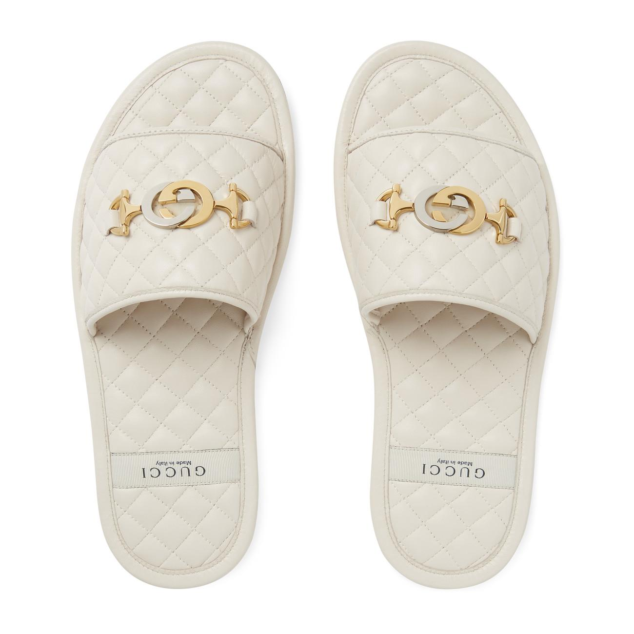 c670d394d Gucci - White Quilted Slide Sandal With Interlocking G Horsebit - Lyst.  View fullscreen