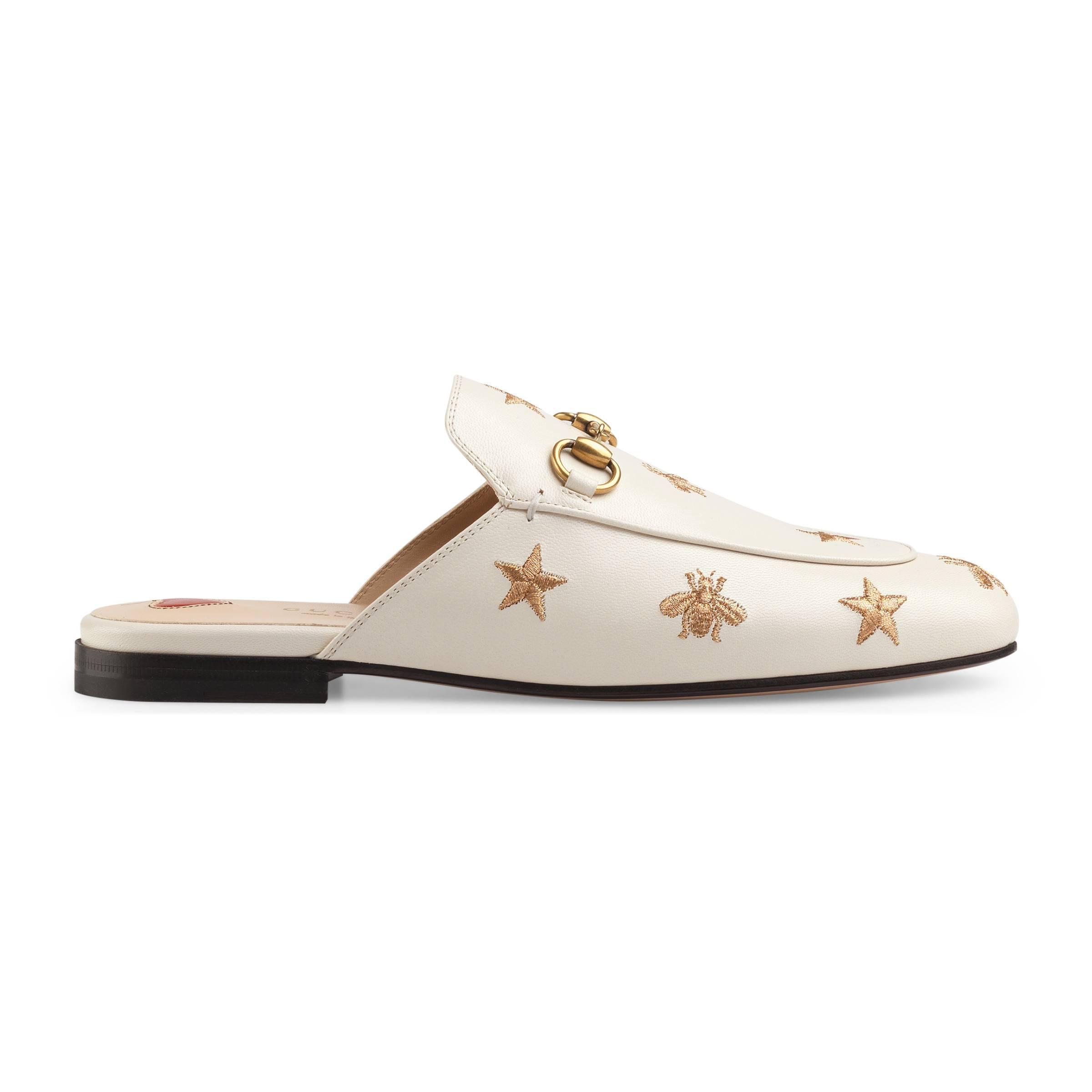 d70e5d5aa9537a Mules Princetown en cuir brodé Gucci en coloris Blanc - Lyst