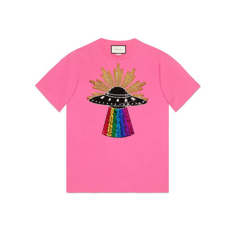 5ca8cb66b Gucci Sequin Ufo Cotton T-shirt in Pink - Lyst