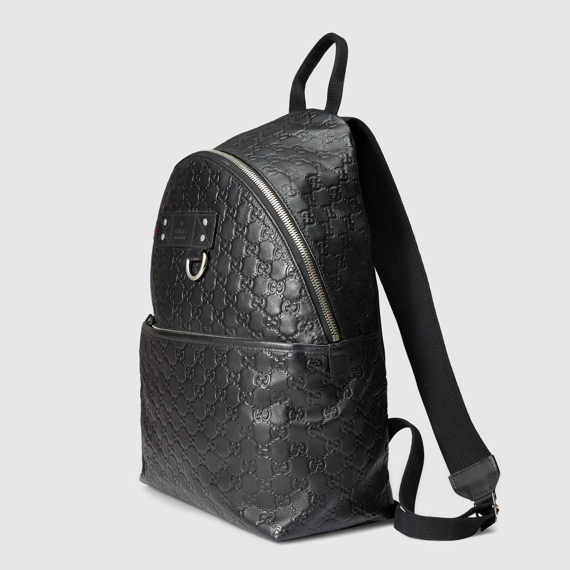 976f5ae7b59dee Lyst Gucci Black Rubber Ssima Leather Backpack In For Men