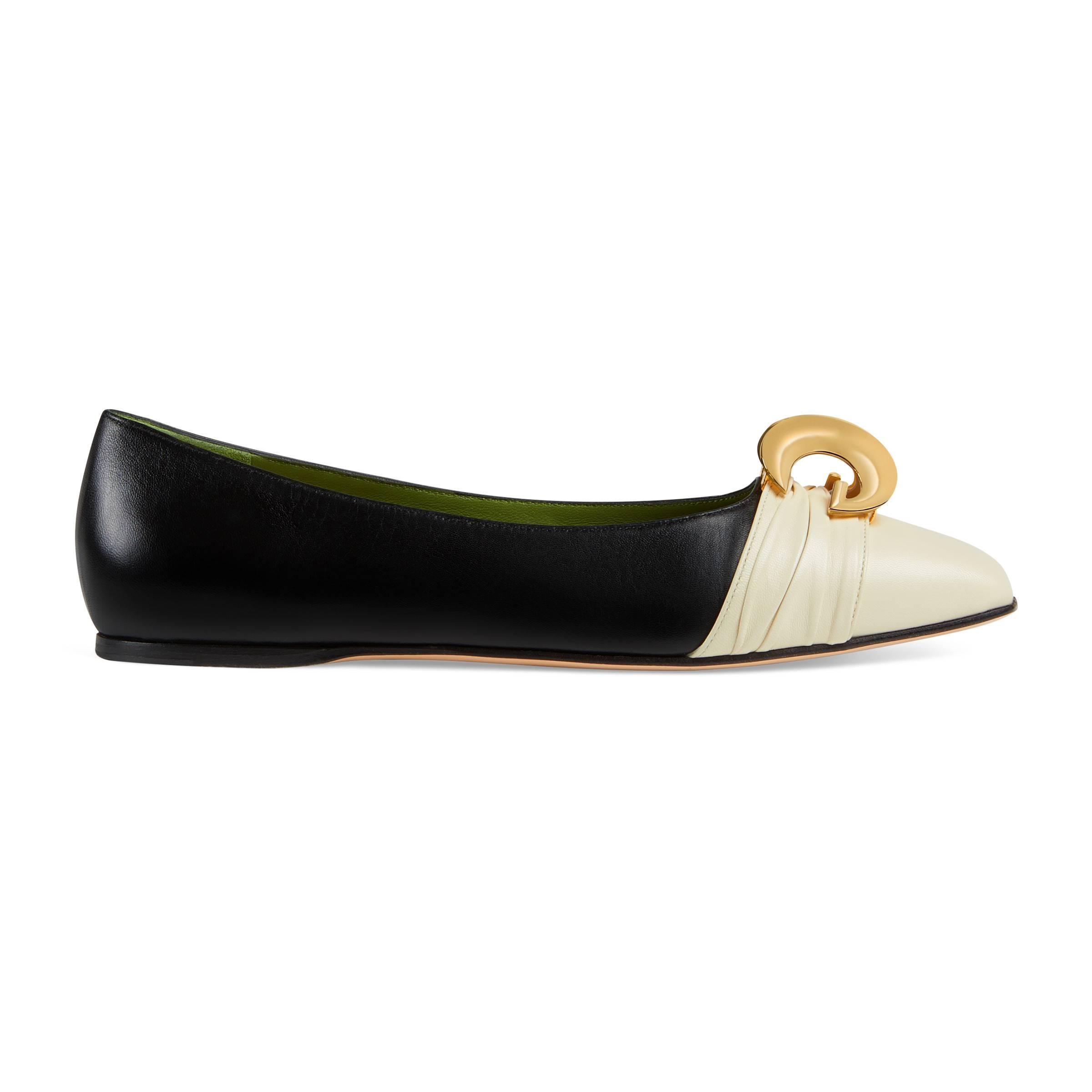 55e8f5c55c7 Gucci - Black Leather Ballet Flat With Half Moon GG - Lyst. View fullscreen