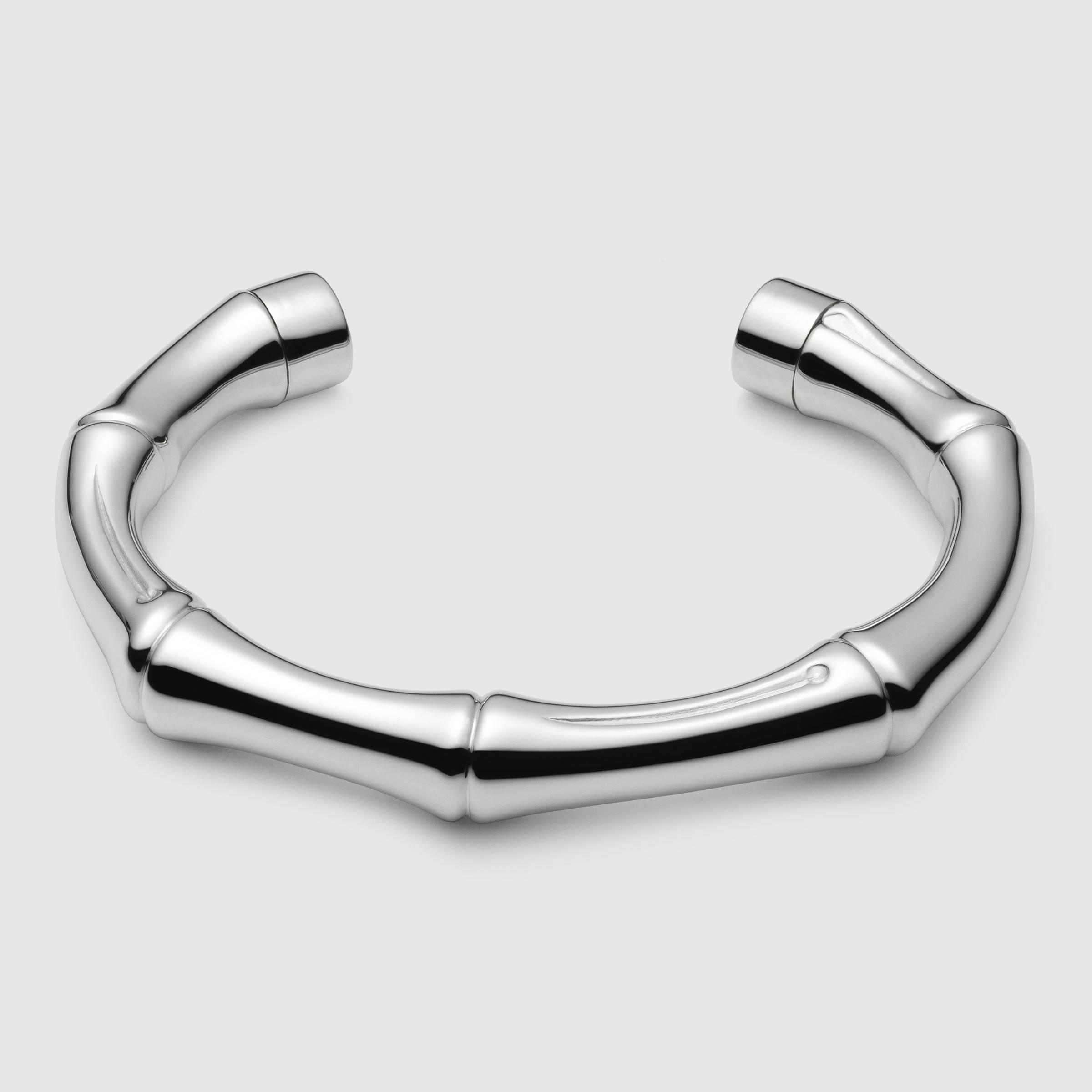 Lyst Gucci Silver Bamboo Bracelet In Metallic