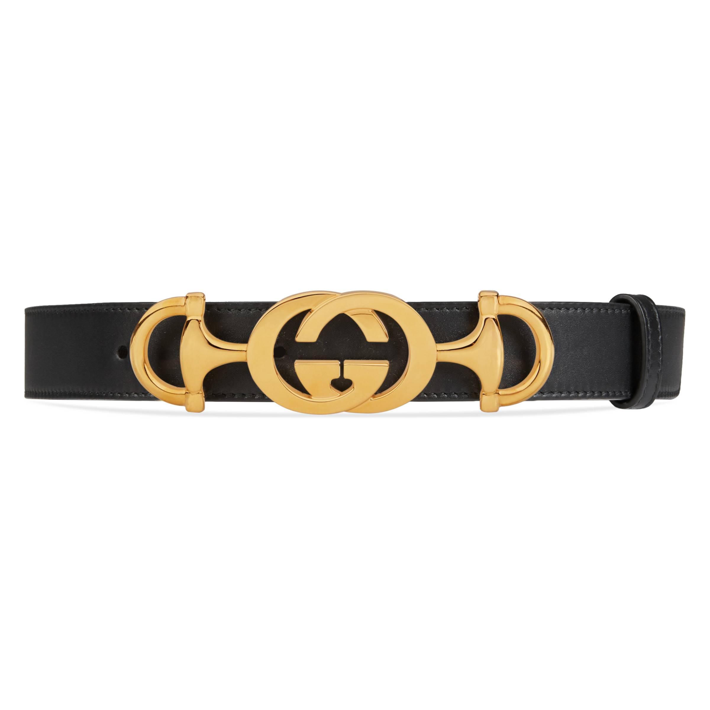 16db3aef293a Gucci Leather Belt With Interlocking G Horsebit in Black - Save 29 ...