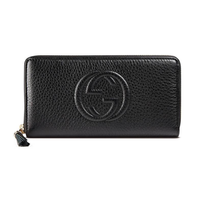 78c019f5a27 Lyst - Gucci Soho Leather Zip Around Wallet in Black