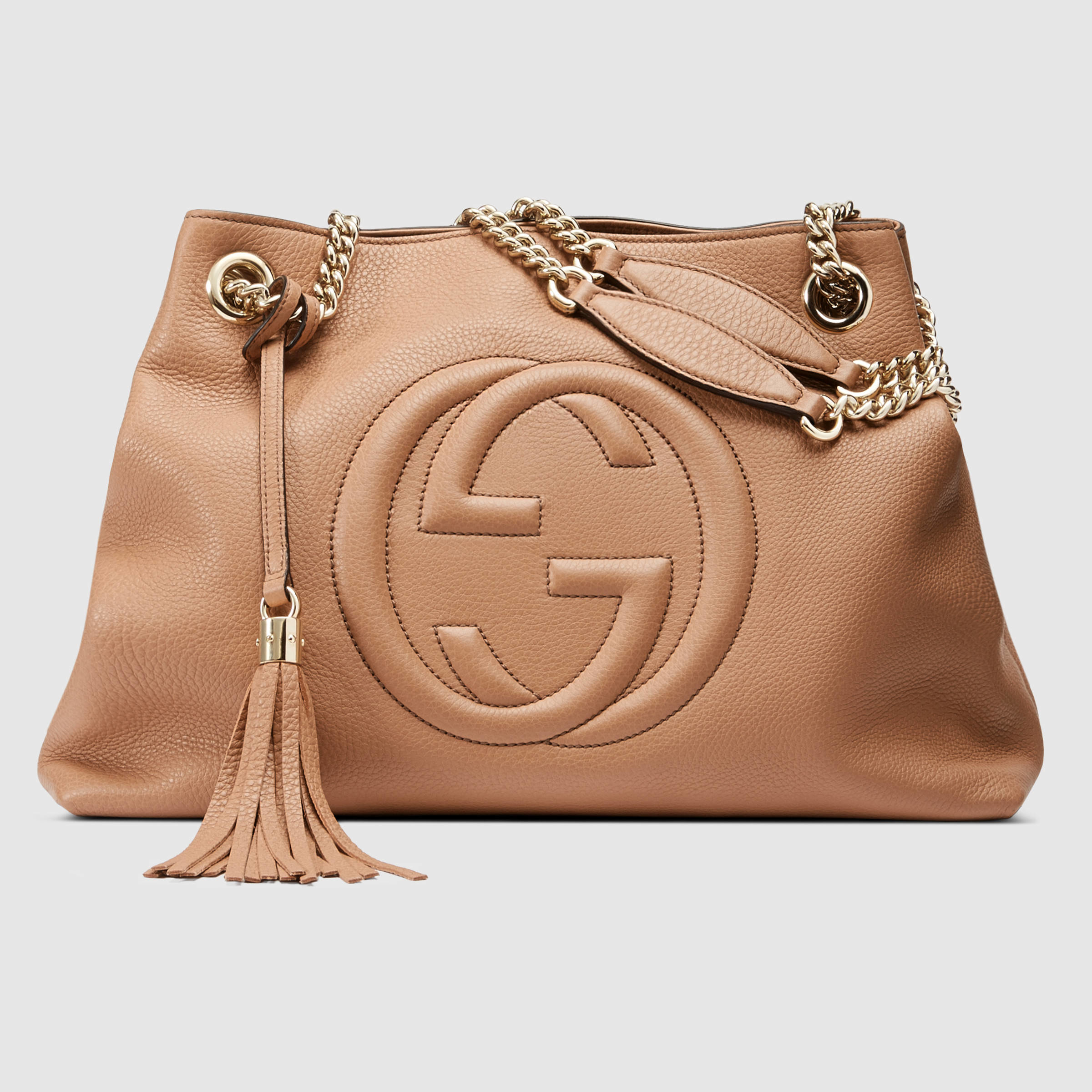 62ded4ea860 Gucci Soho Leather Shoulder Bag in Natural - Lyst