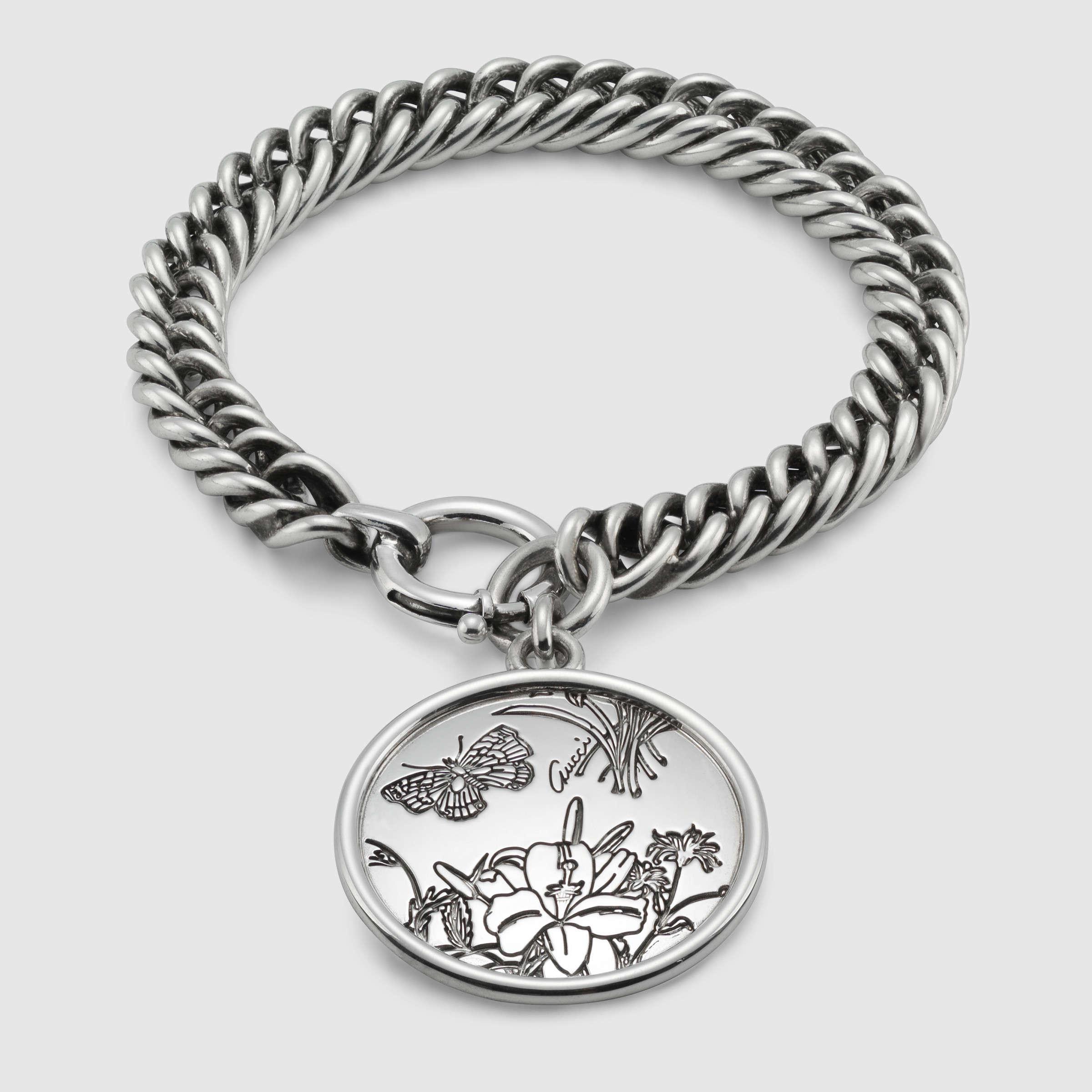 c5a8e8e8b Gucci Flora Bracelet In Sterling Silver in Metallic - Lyst