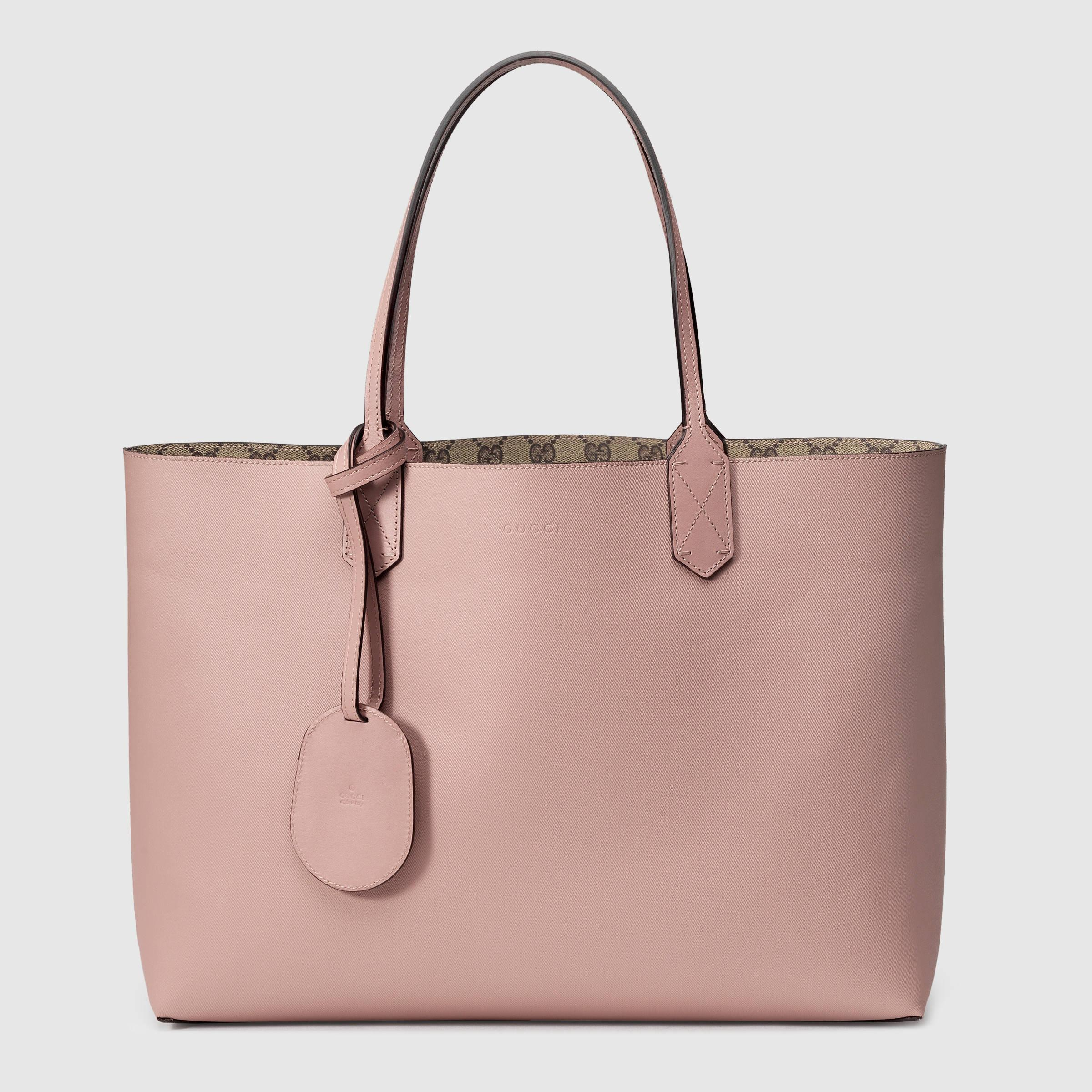 9f96a47c032e Lyst - Gucci Reversible Gg Leather Tote in Pink
