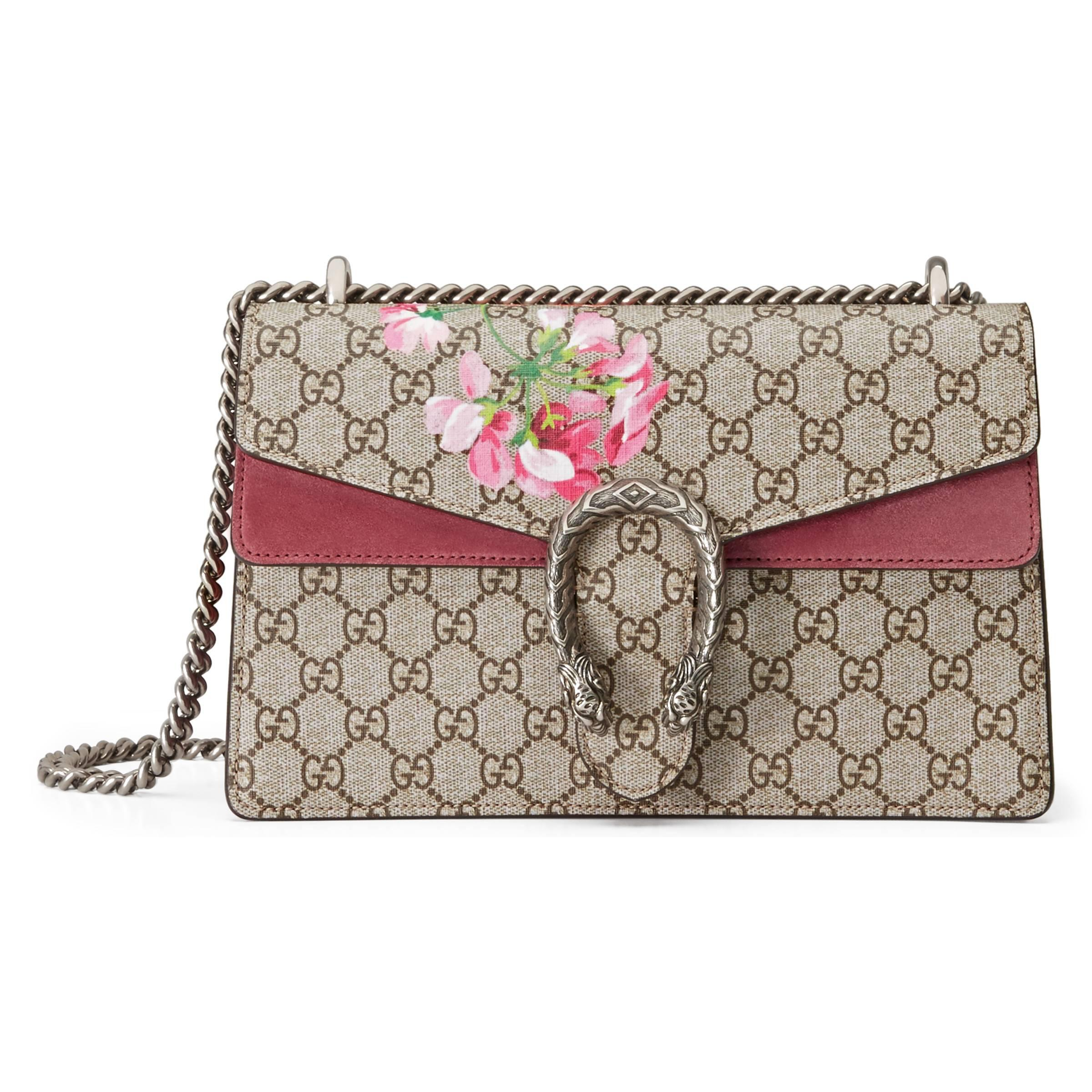 23627833b345 Gucci Dionysus Small GG Blooms Shoulder Bag in Natural - Lyst