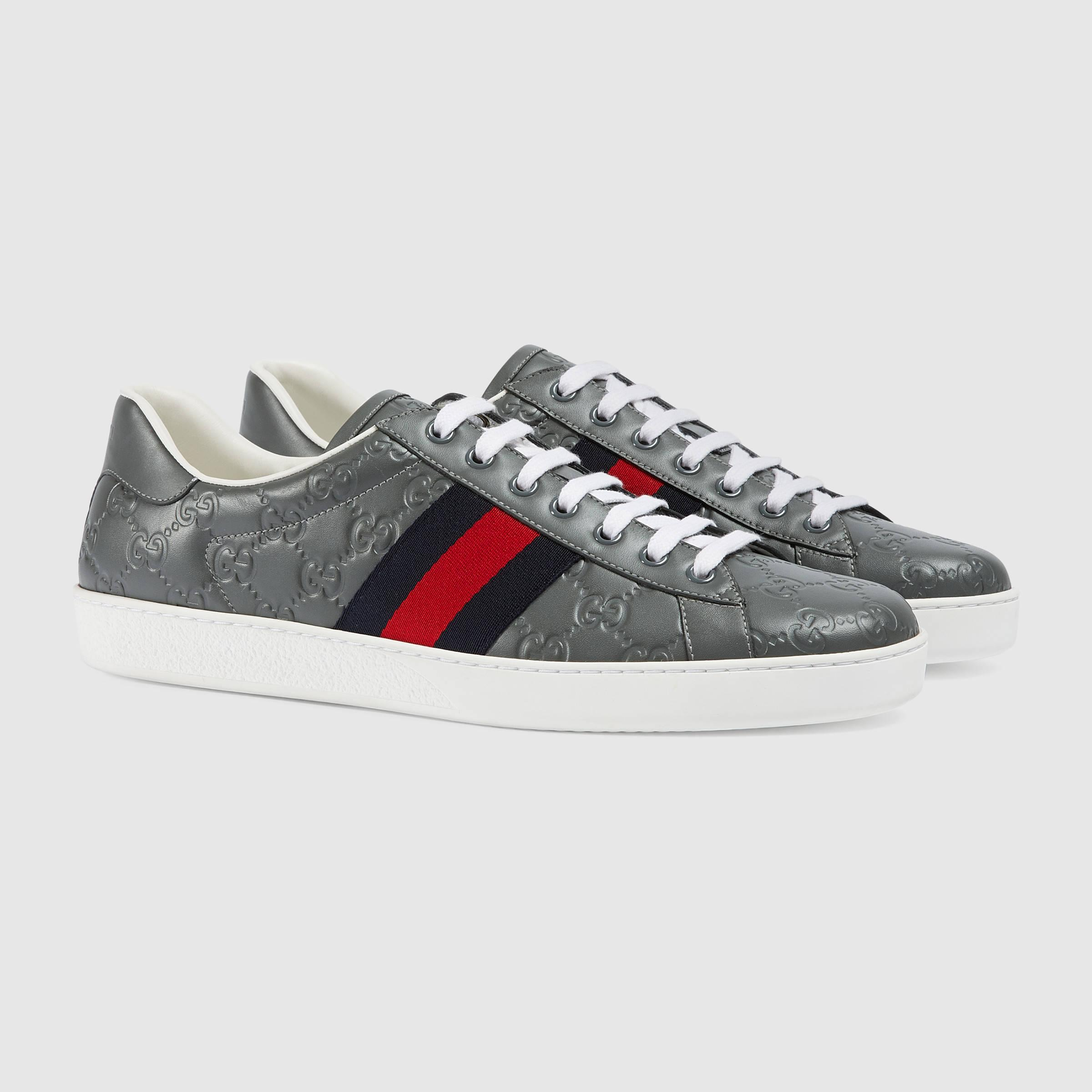 951b76398d2e Gucci Ace Signature Low-top Sneaker in Gray for Men - Lyst