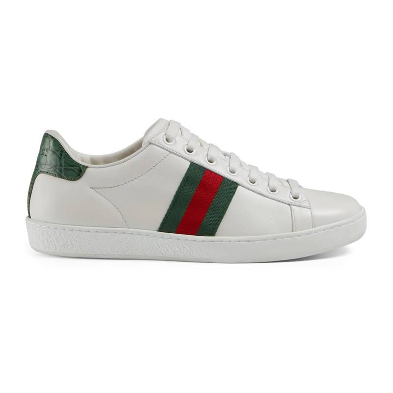 gucci ace leather low top sneaker in white lyst. Black Bedroom Furniture Sets. Home Design Ideas