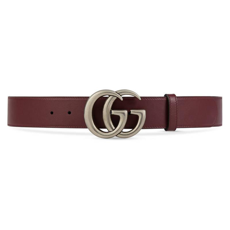 Gucci Leather Belt With Double G Buckle in Red | Lyst