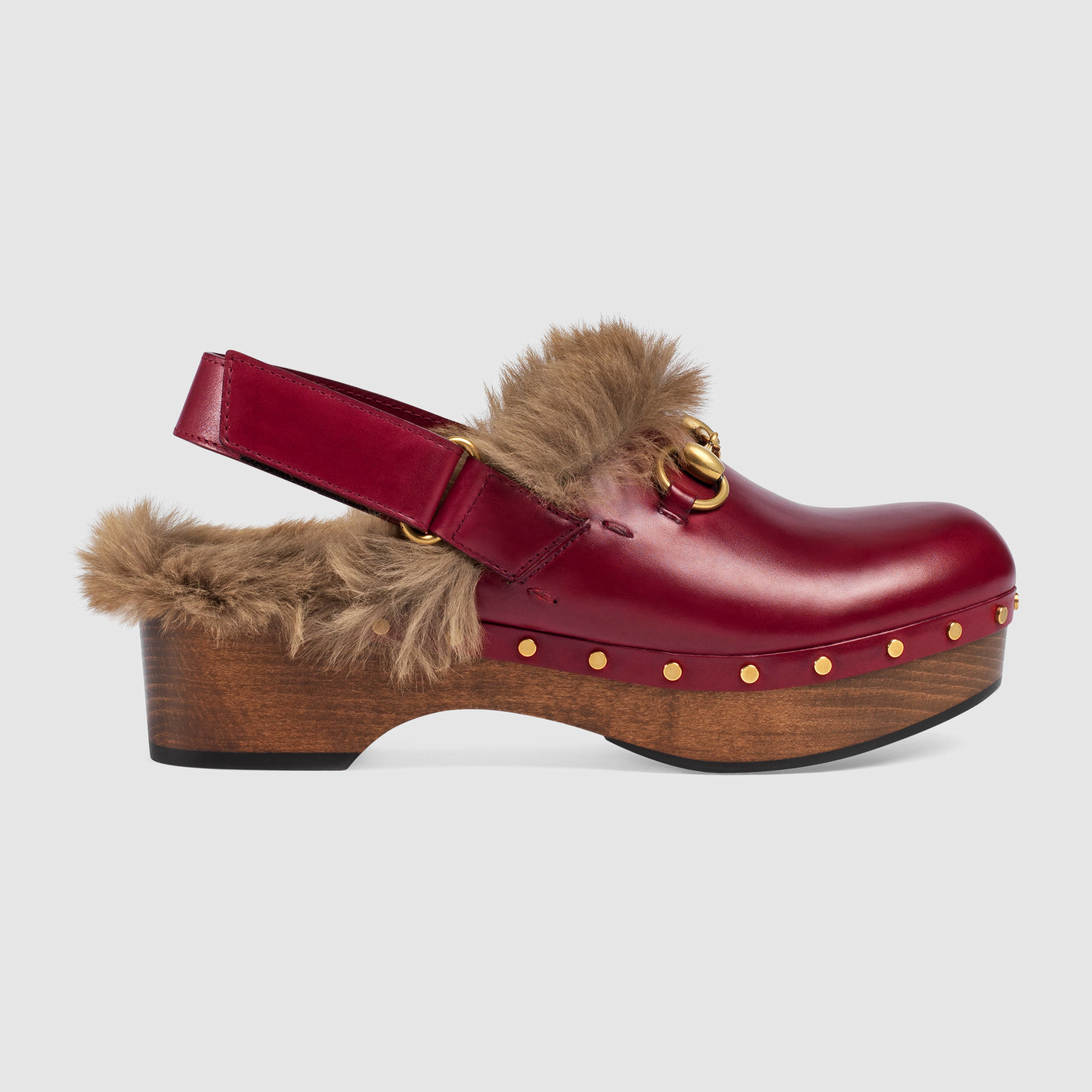 Gucci Amstel Fur Lined Leather Slingback Clogs In Red Lyst