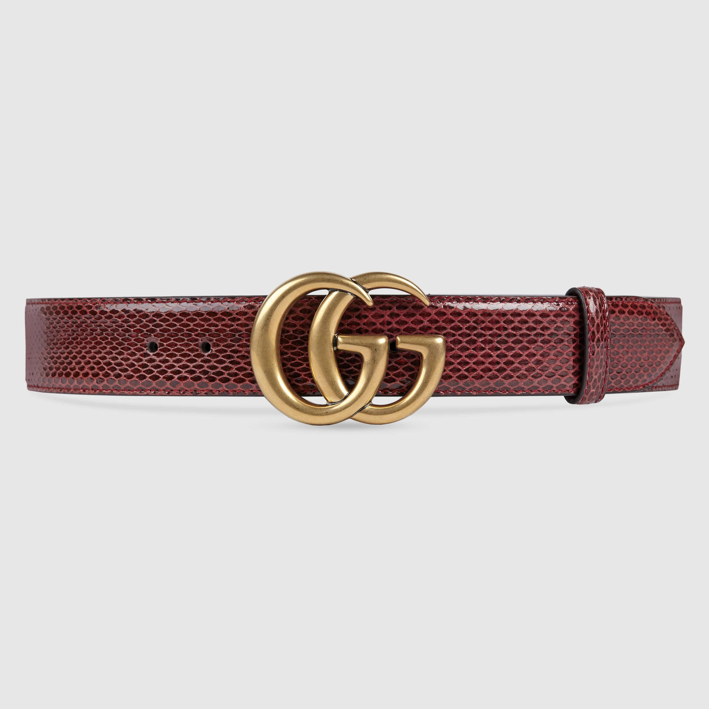 Gucci Ayers Belt With Double G Buckle in Red | Lyst