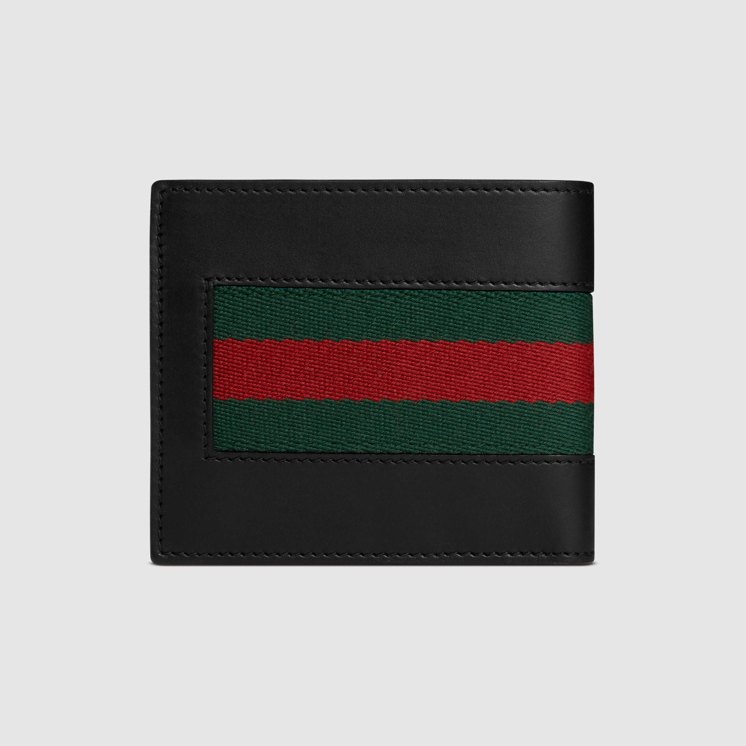 Gucci Web Leather Wallet In Black For Men Lyst