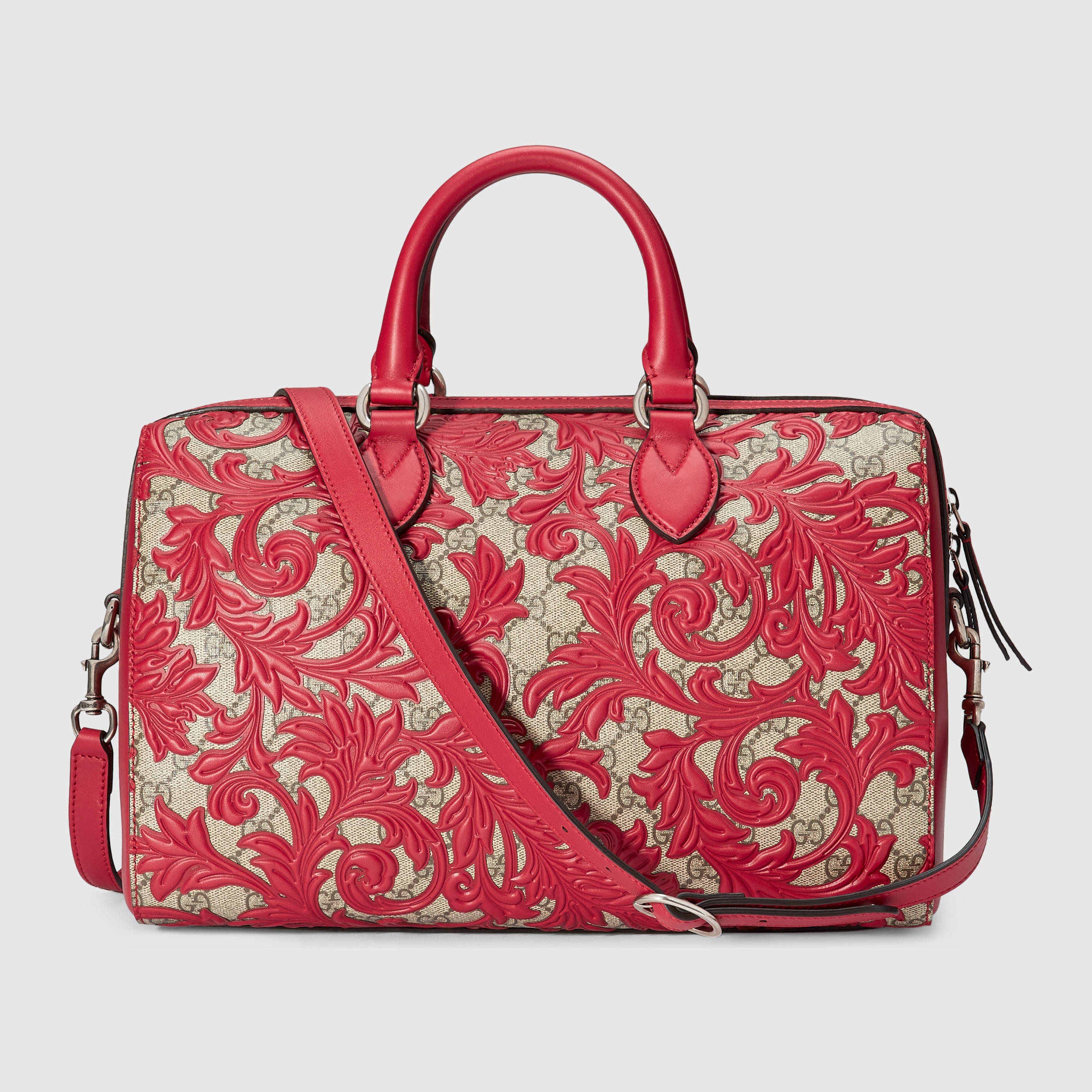 89726ec0fb79 Gucci Arabesque Gg Supreme Top Handle Bag in Red - Lyst