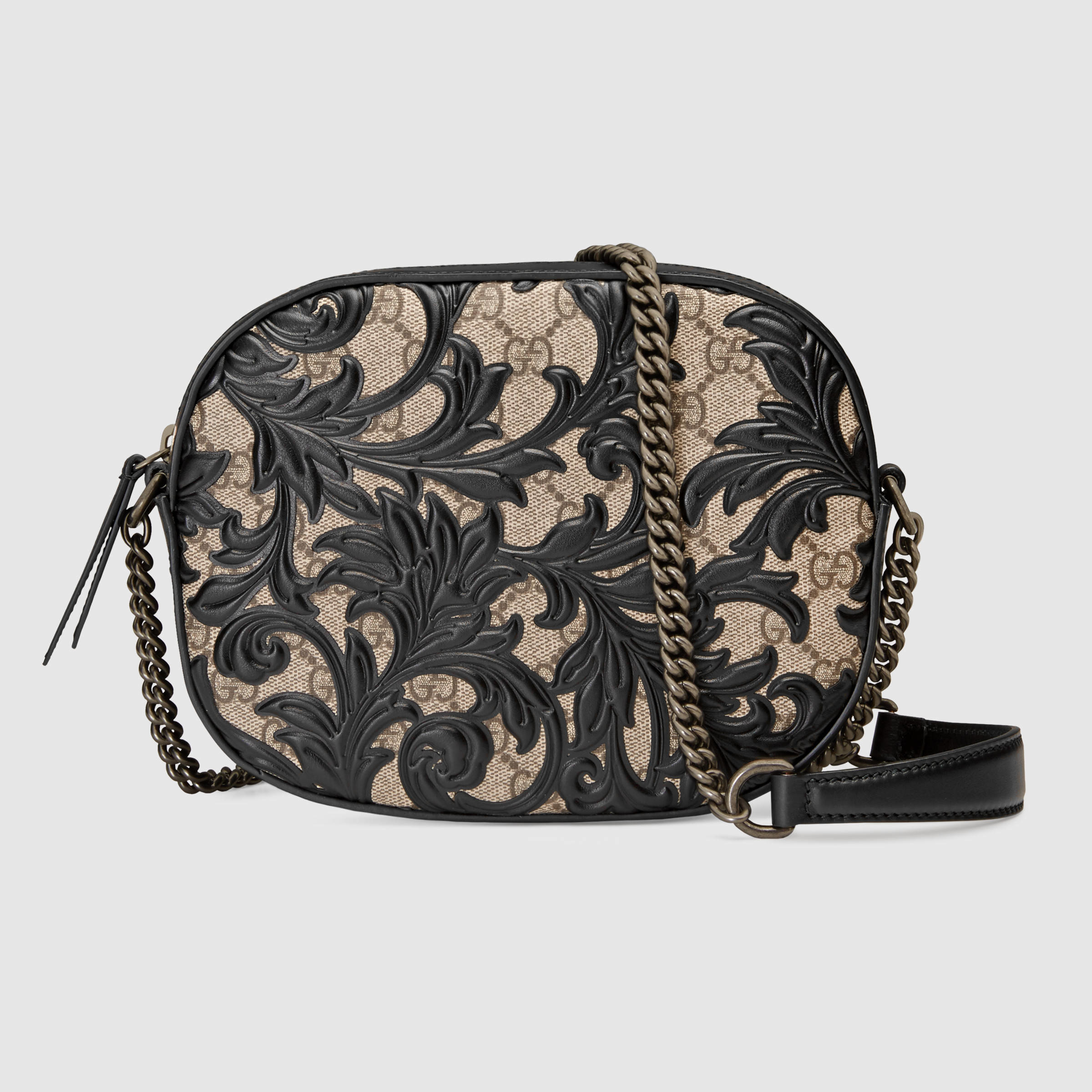 a34b352ed7fc Lyst - Gucci Arabesque Gg Supreme Mini Chain Bag in Black