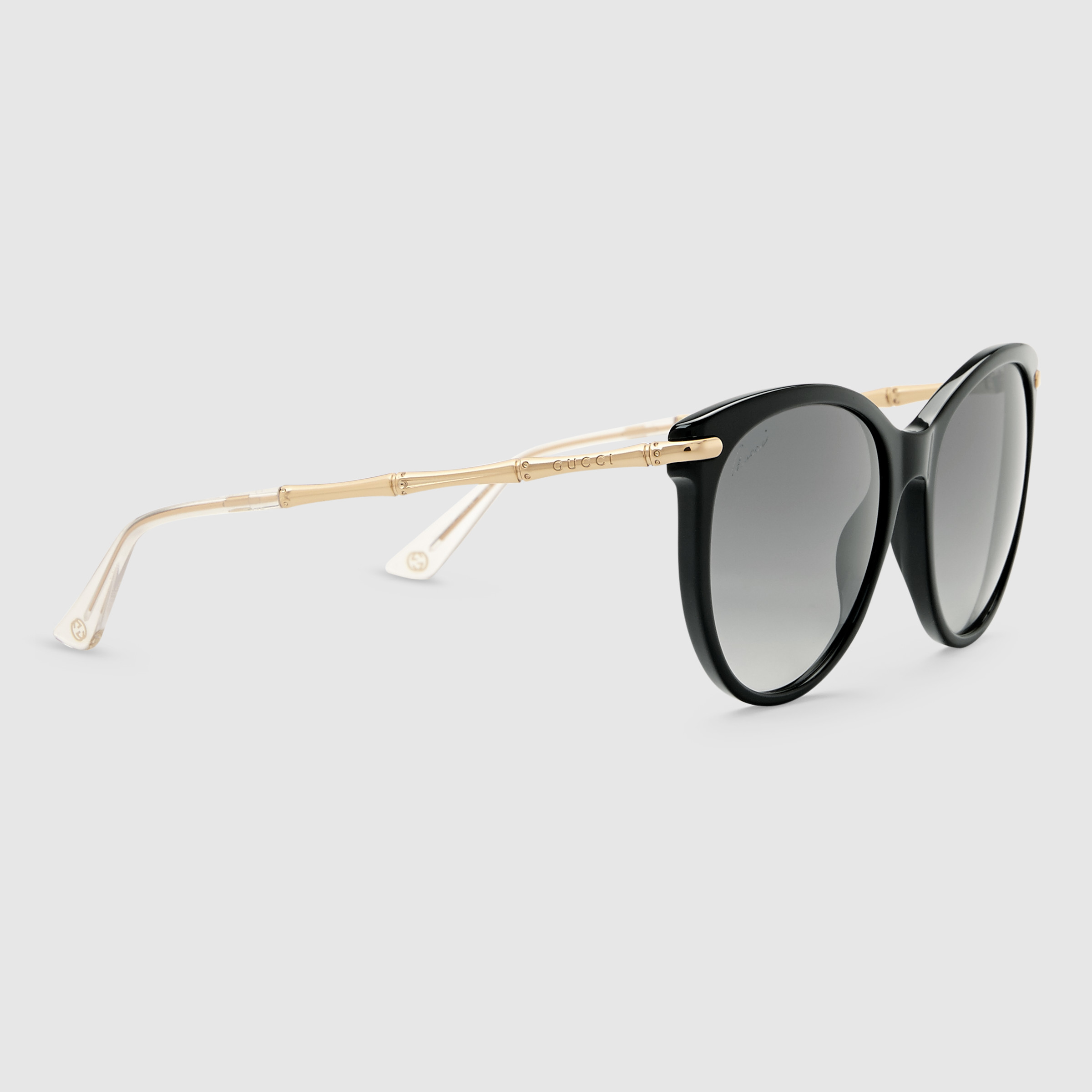 768e40b8335c4 Gucci Cat Eye Sunglasses With Metal Bamboo Temples in Yellow - Lyst