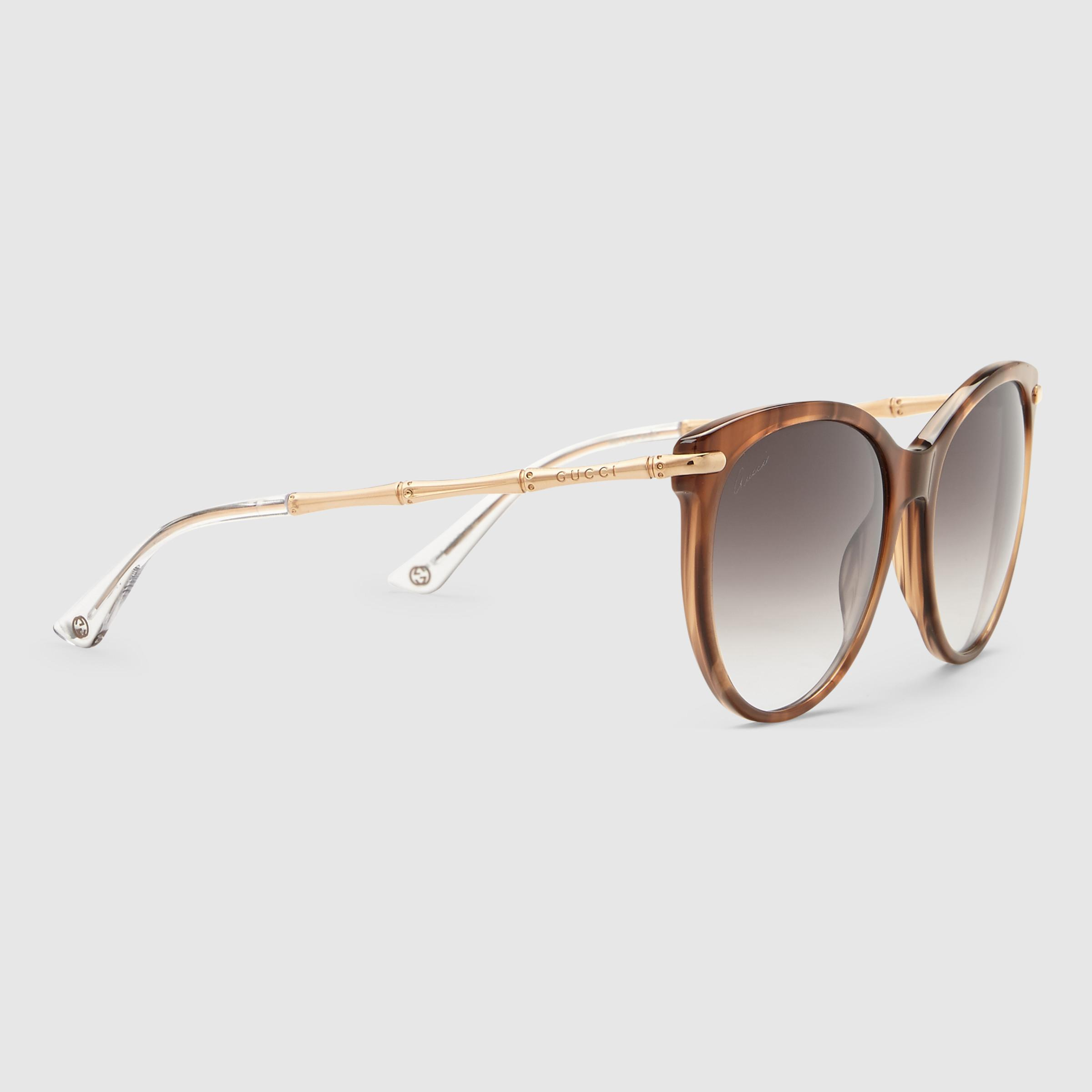 c1a7187c84ae5 Gucci Cat Eye Sunglasses With Metal Bamboo Temples in Red - Lyst