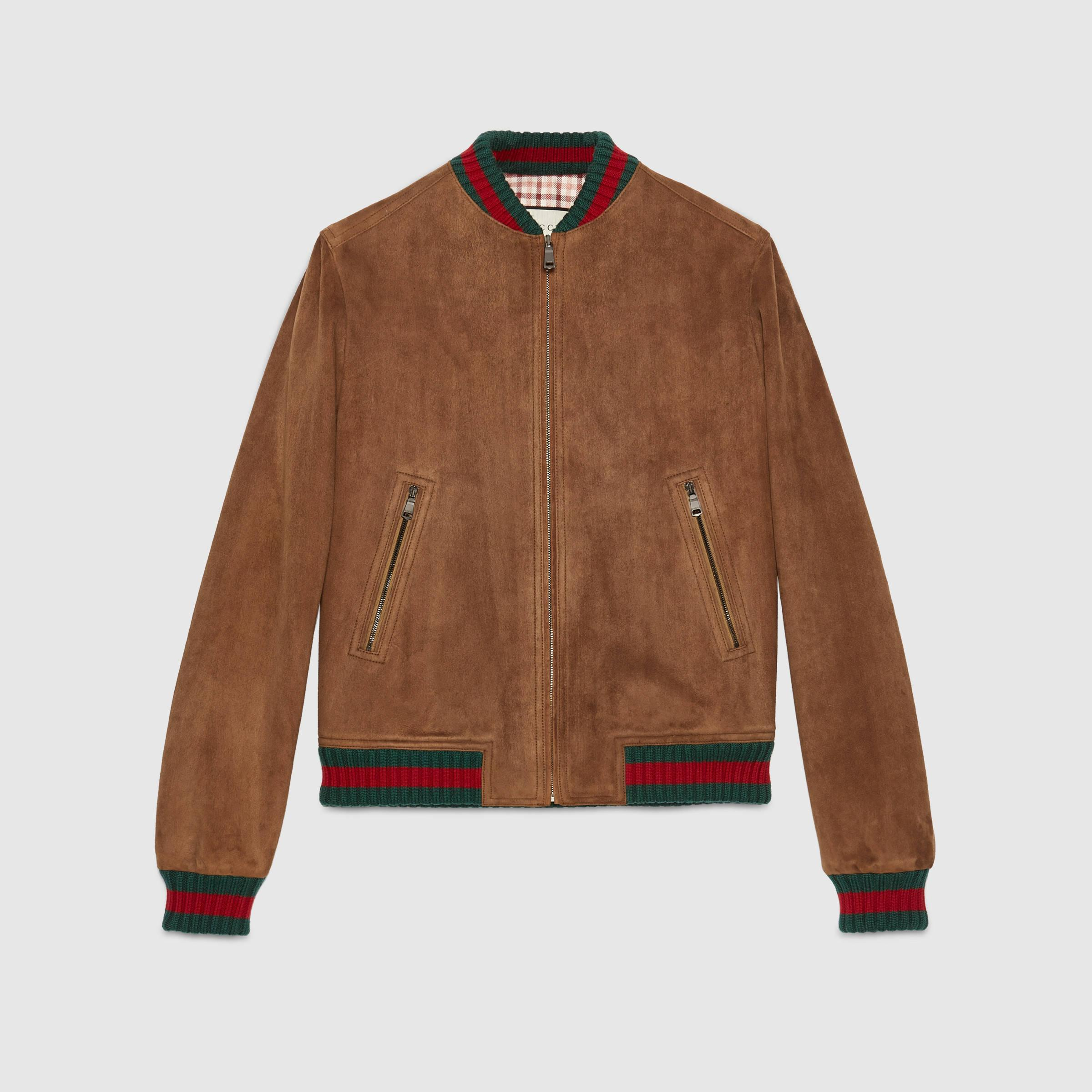 eb18d6e7fa2e Lyst - Gucci Suede Jacket With Web in Brown for Men