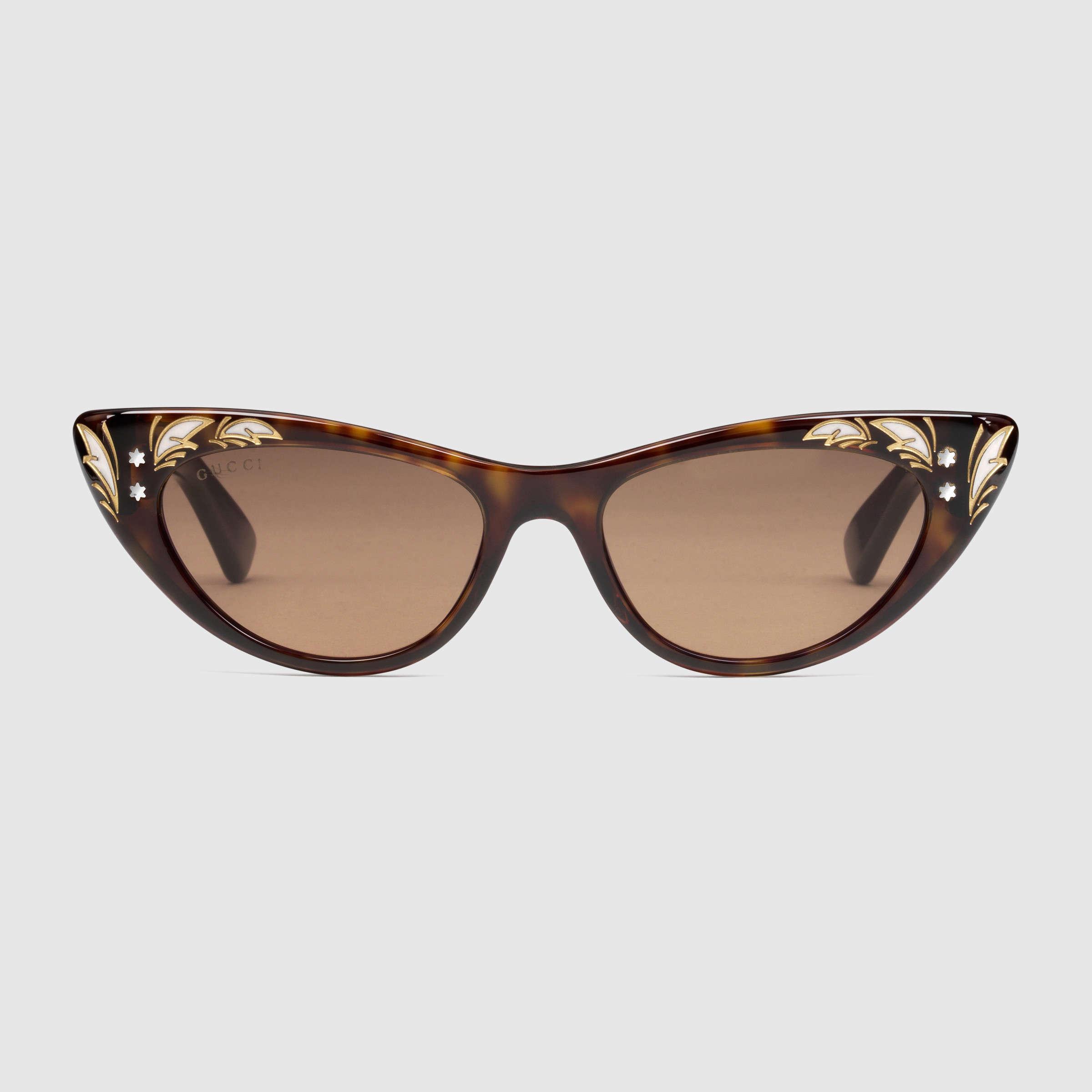45a8cba2e8070 Gucci Cat Eye Sunglasses in Brown - Lyst
