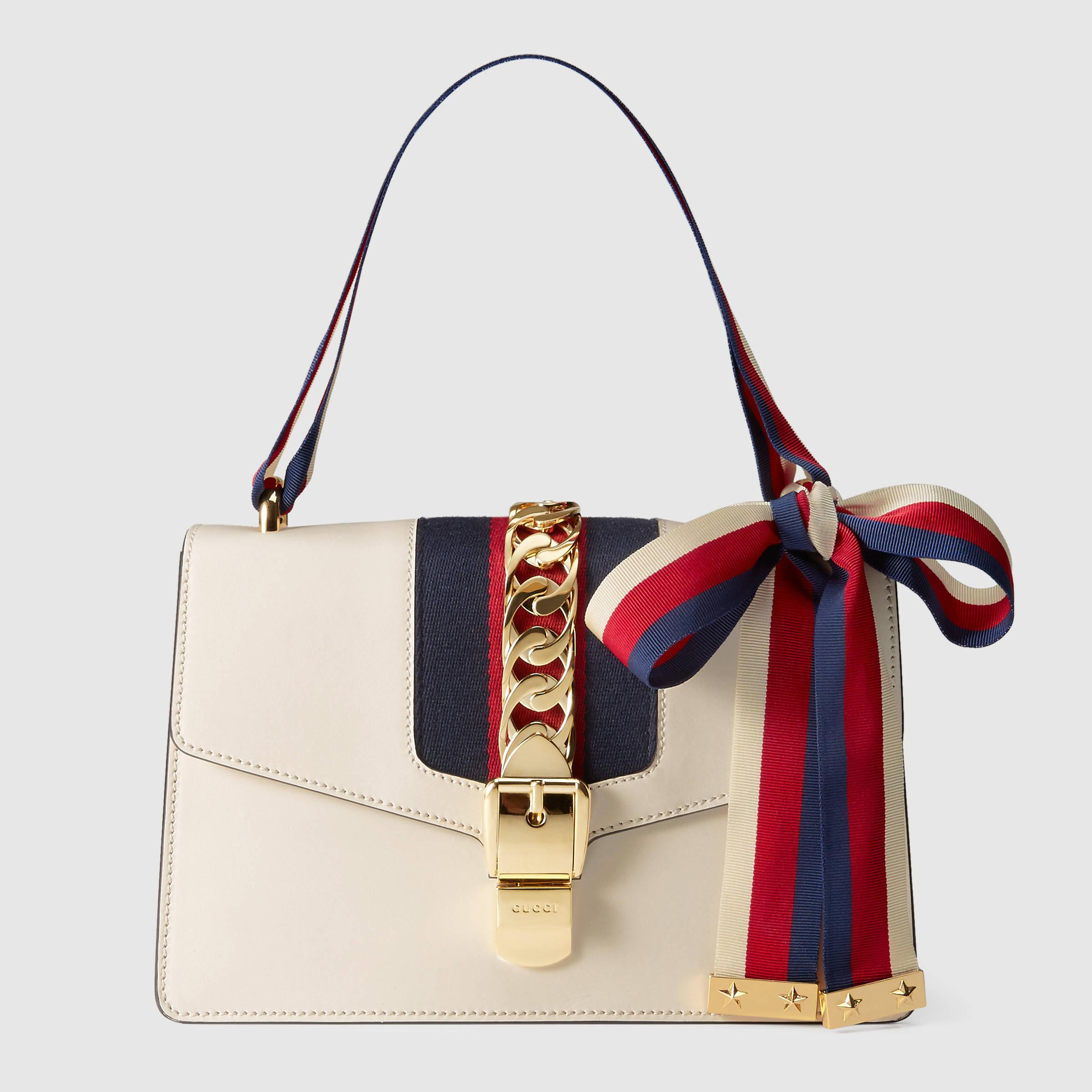 Gucci Sylvie Leather Shoulder Bag in White | Lyst