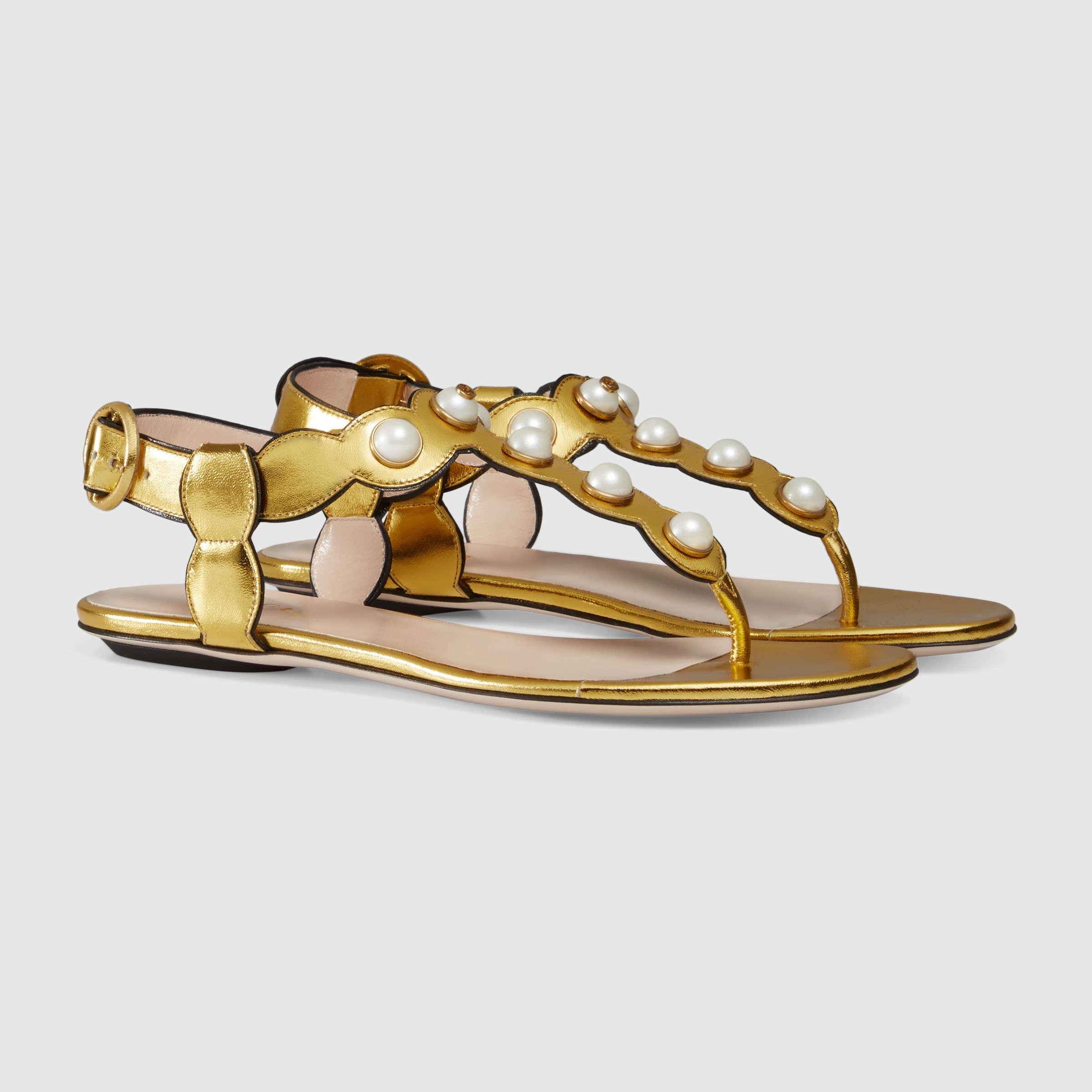 d28bf87da8901c Lyst - Gucci Embellished Metallic-Leather Sandals in Metallic
