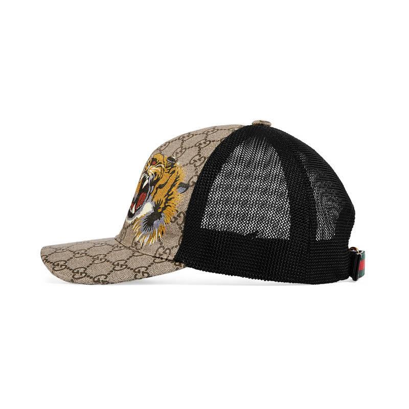 gucci tigers print gg supreme baseball hat for lyst