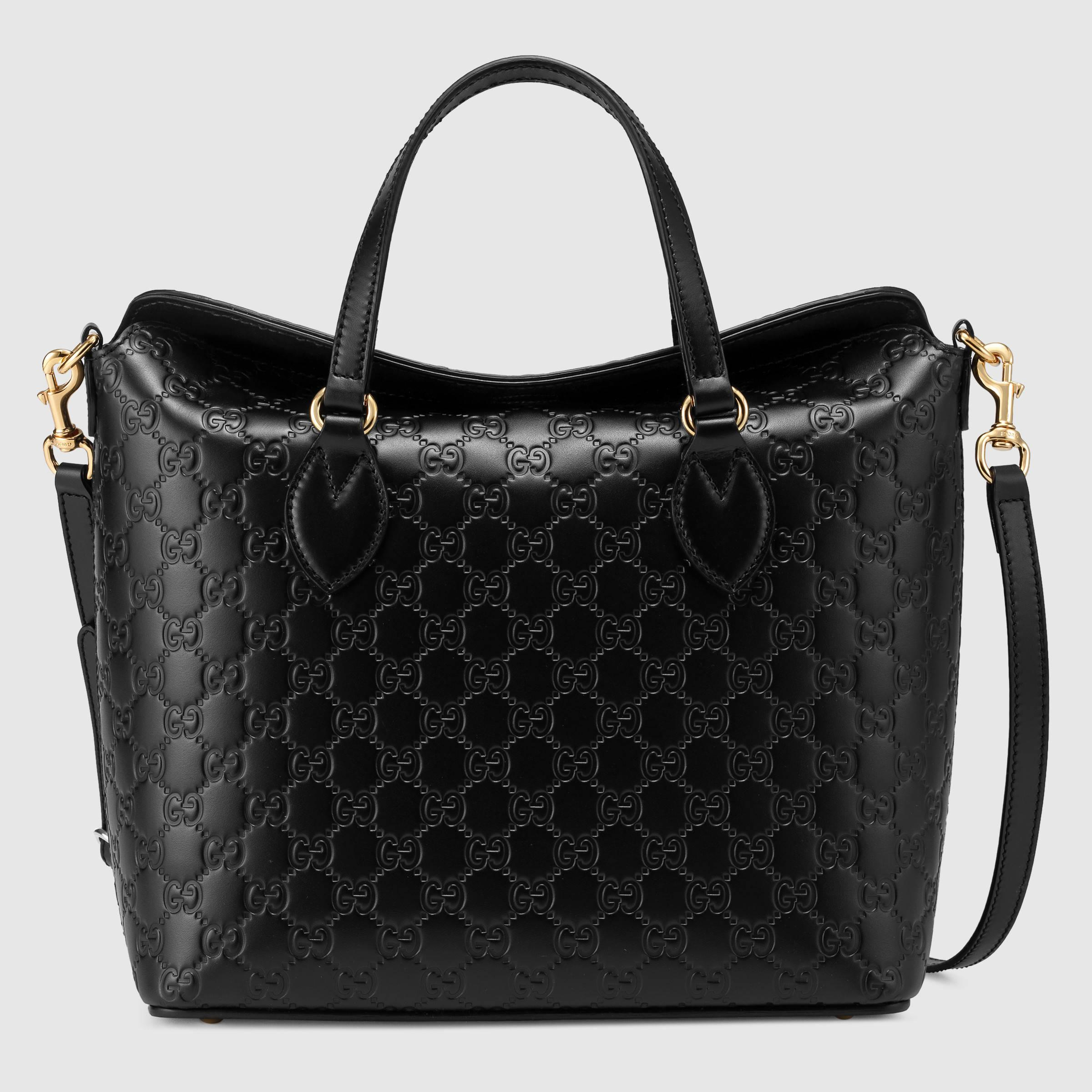 91d0895e4fd Gucci Signature Leather Tote Bag in Black - Lyst