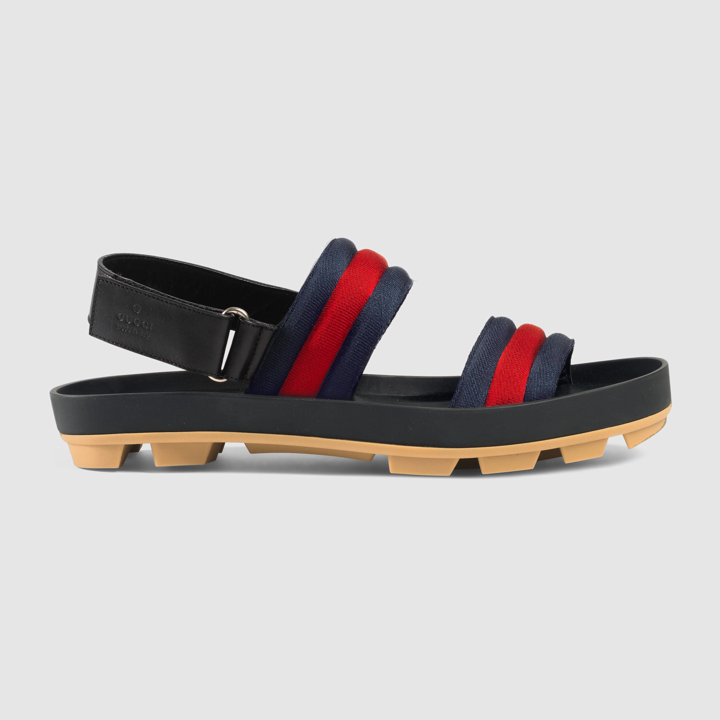 a09fb6ea58b1 Gucci Leather And Web Sandal for Men - Lyst