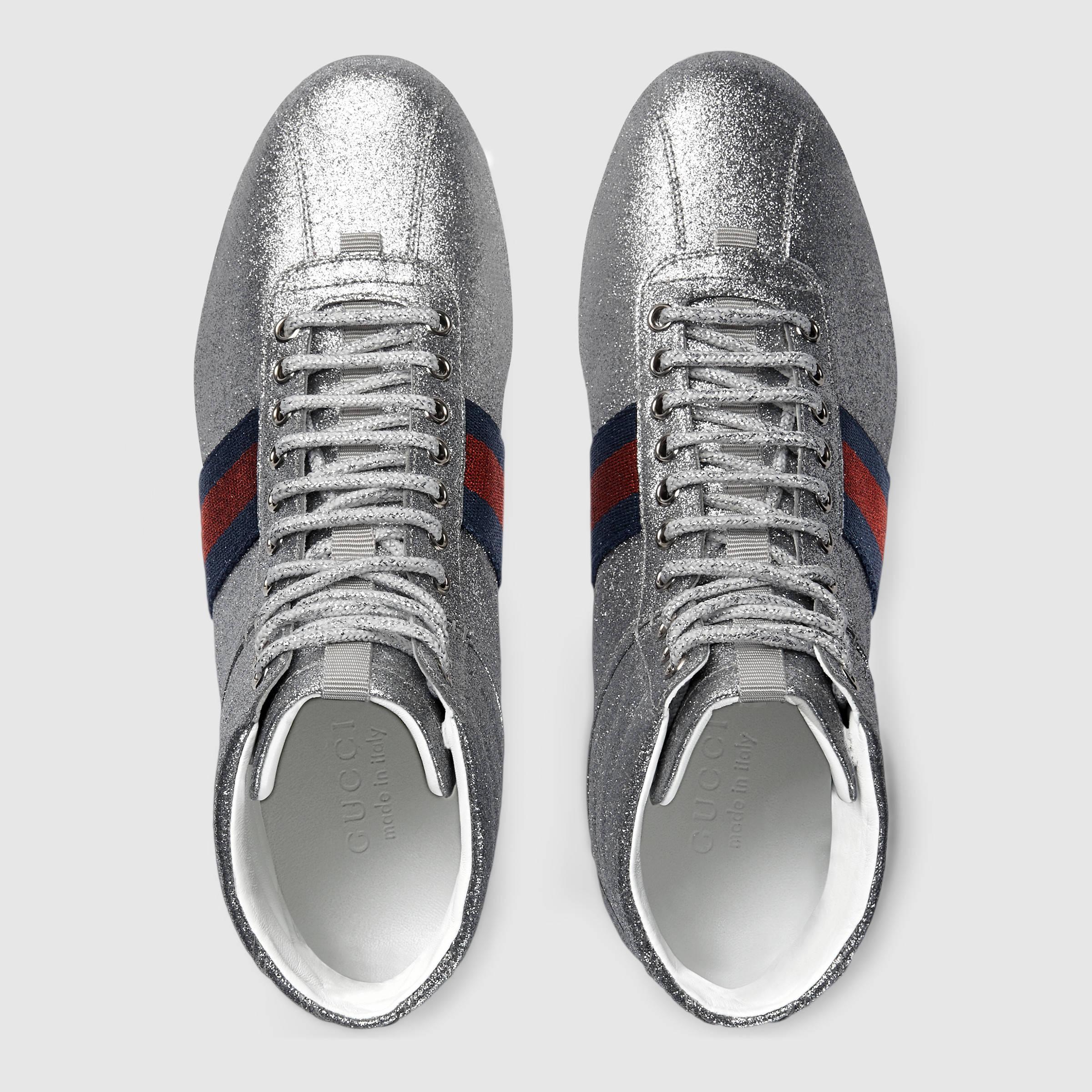 9edd30ebbe2 Lyst - Gucci Glitter Web High-top Sneaker in Metallic for Men