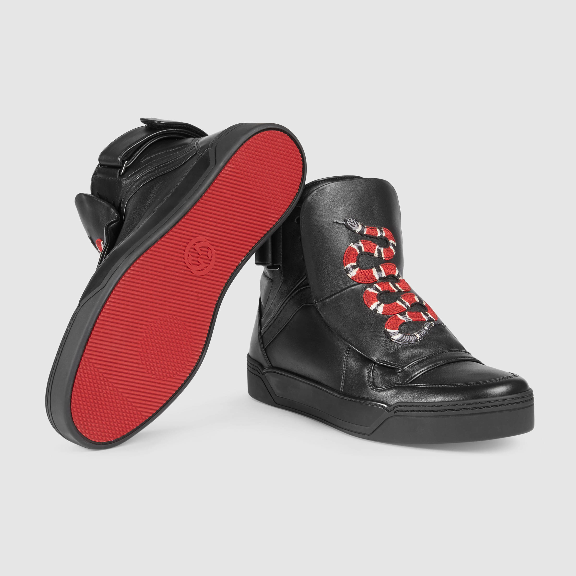ea289f64f Gucci Leather High-top Sneaker With Snake in Black for Men - Lyst