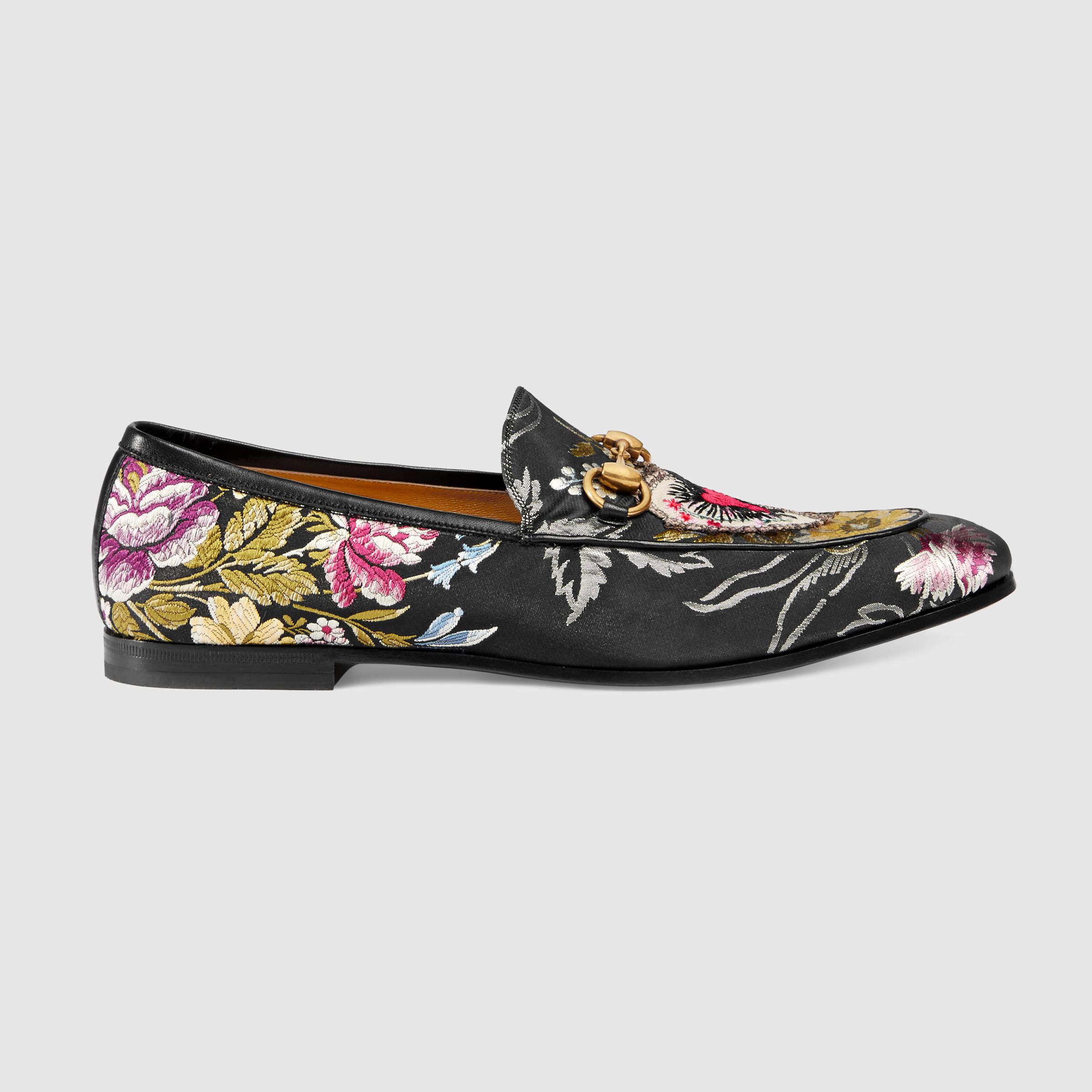 b7a7e7266 Gucci Jordaan Floral Jacquard Loafer in Black for Men - Lyst