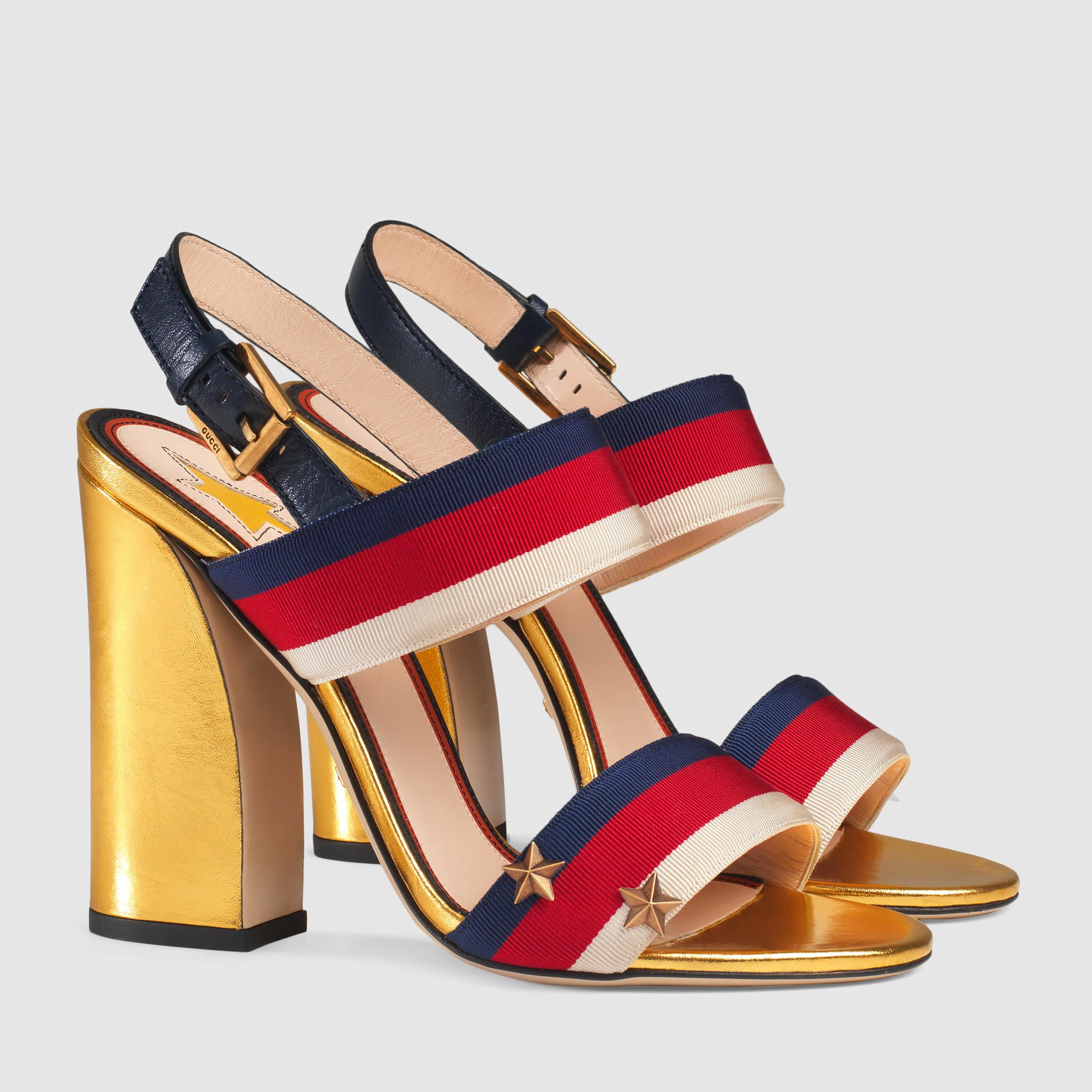 50f3b197c00 Lyst - Gucci Grosgrain Web Sandal